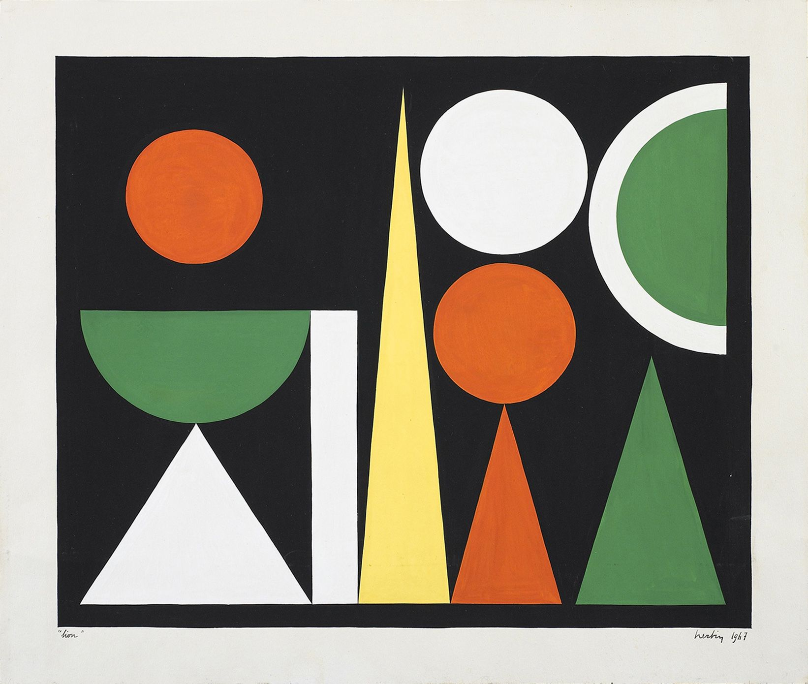 Auguste Herbin, Lion, 1947, Gouache on paper 9 3/4 x 11 3/4 inches