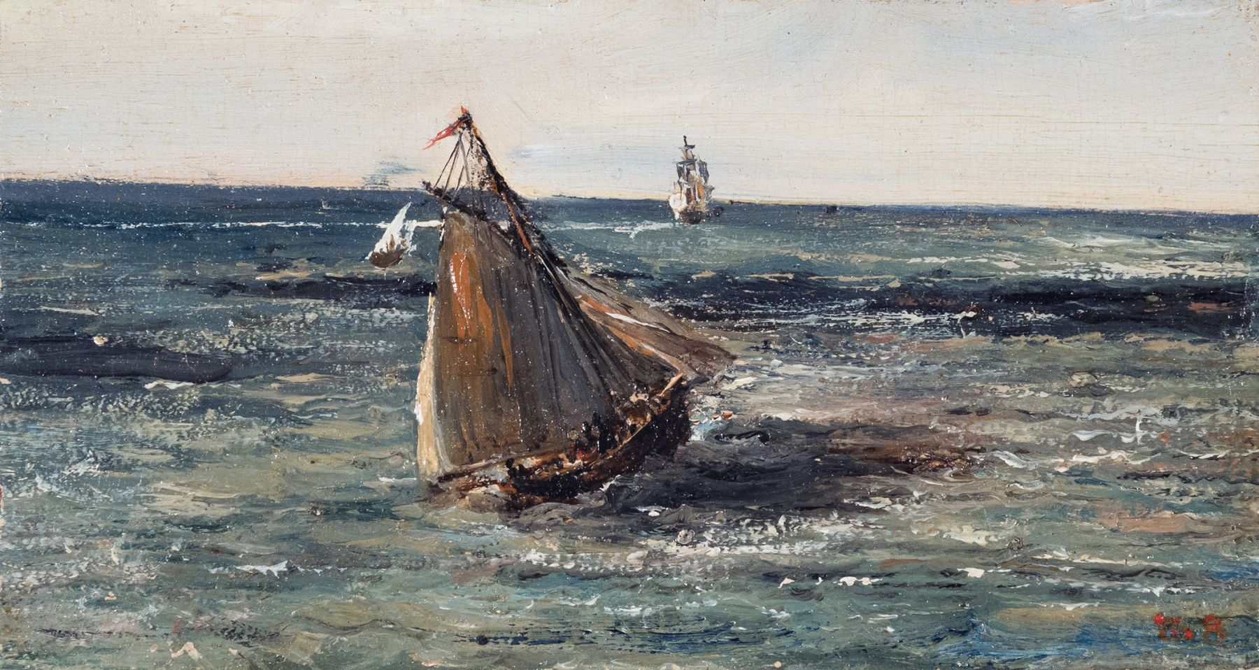 Theodore Rousseau Seascape, c. 1830  Oil on panel 2 7/8 x 5 1/2 inches
