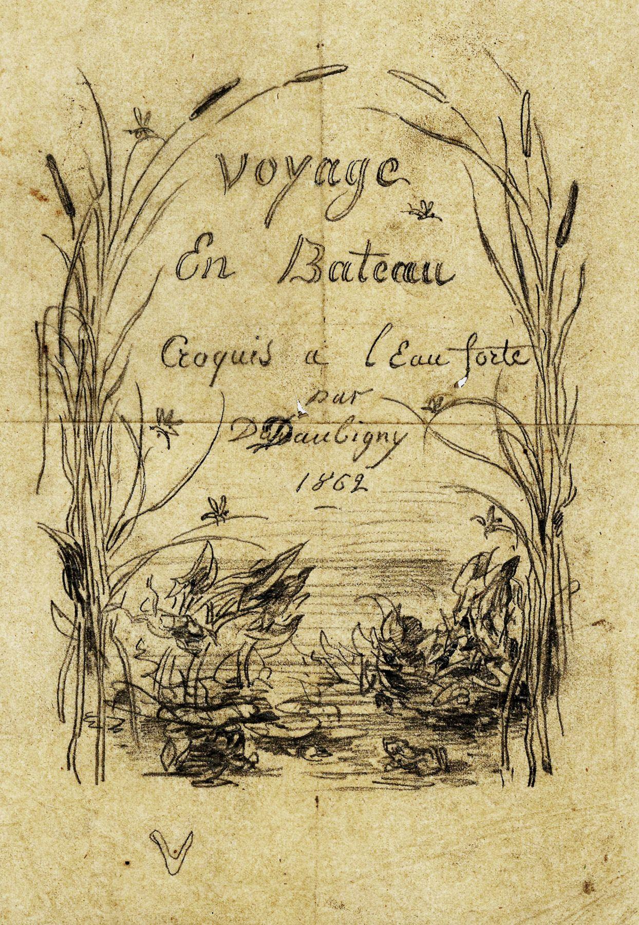 Charles F. Daubigny, Frontispice de l'album de voyage en bateau    Pencil on papier calque 8 3/4 x 6 1/4 inches