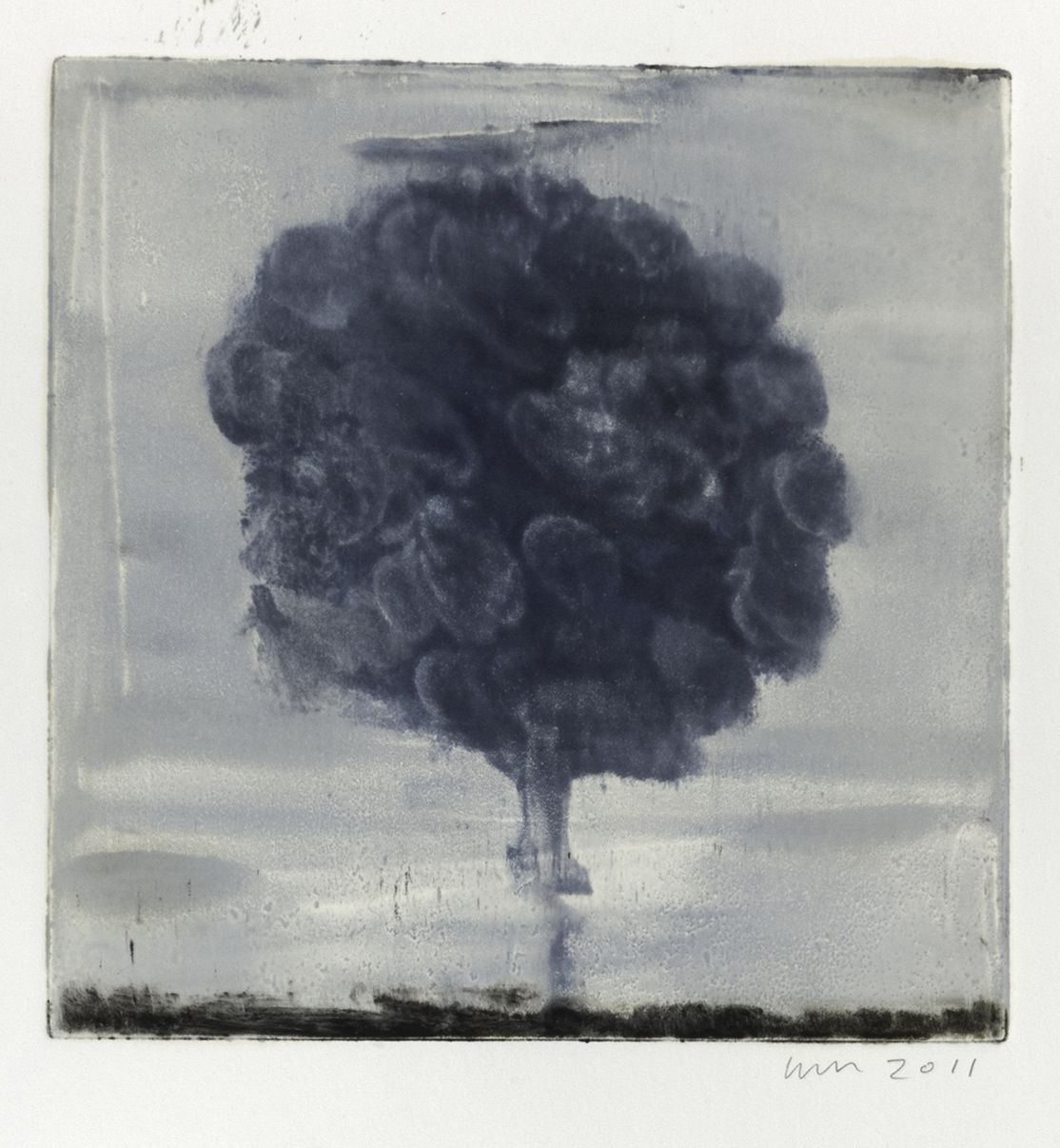 Wendy Mark  Blue Tree, 2010  Monotype Plate 10 x 10 inches (25.4 x 25.4 cm)