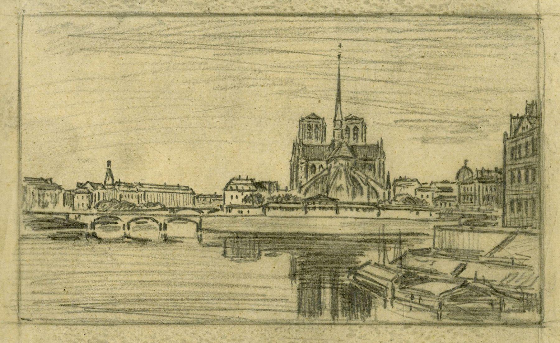 Charles François Daubigny  Notre Dame et l'Ille de la Cité  Graphite on calque 4 1/2 x 7 inches