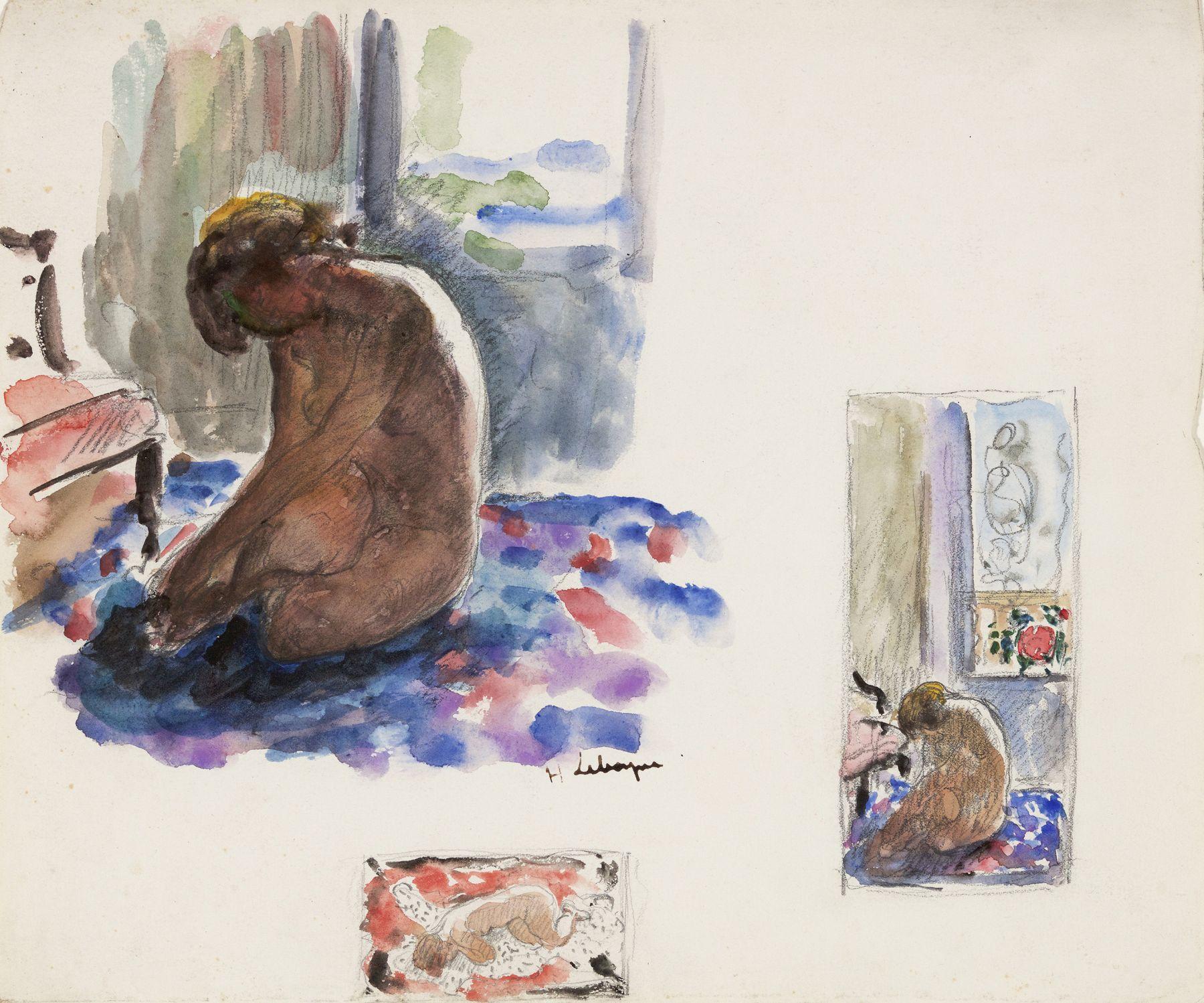 Henri Lebasque  Nude Studies (Etudes de Nus)  Watercolor on paper 11 1/4 x 13 1/2 inches
