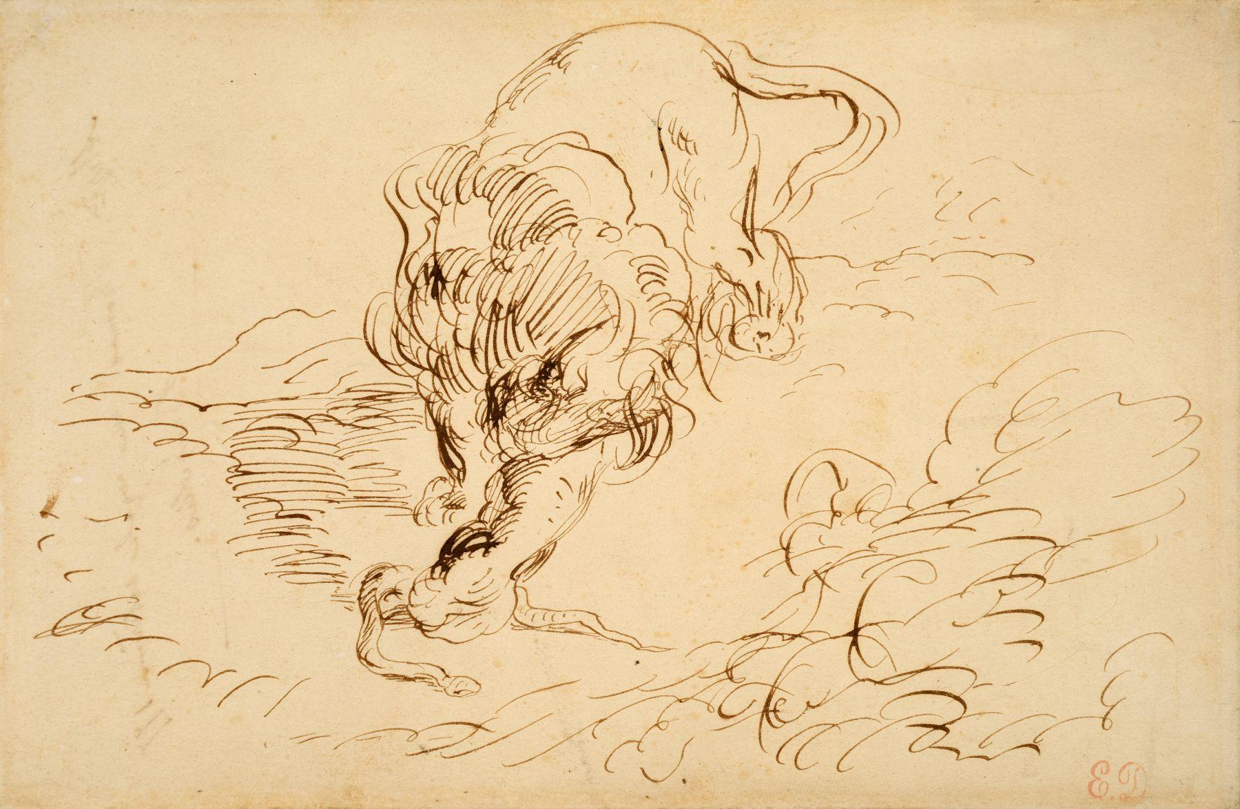 Eugène Delacroix, Lion Attacking a Serpent