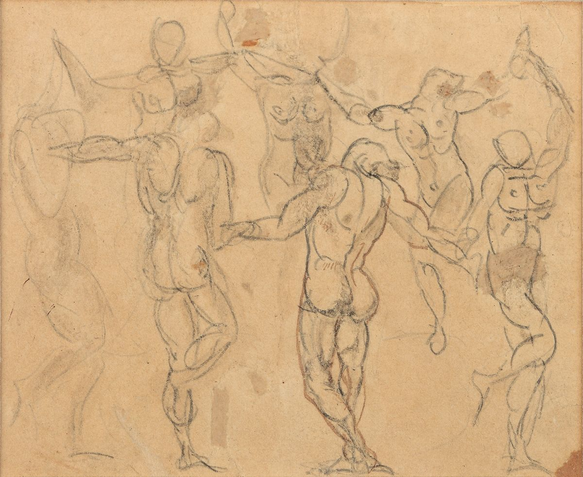 "Auguste Rodin, Study of Seven Figures for La Ronde (Etude de sept figures pour ""La Ronde""), c. 1880-1883  Pencil with touches of pen, ink, and brown wash on buff paper. 3 x 3 1/2 inches"