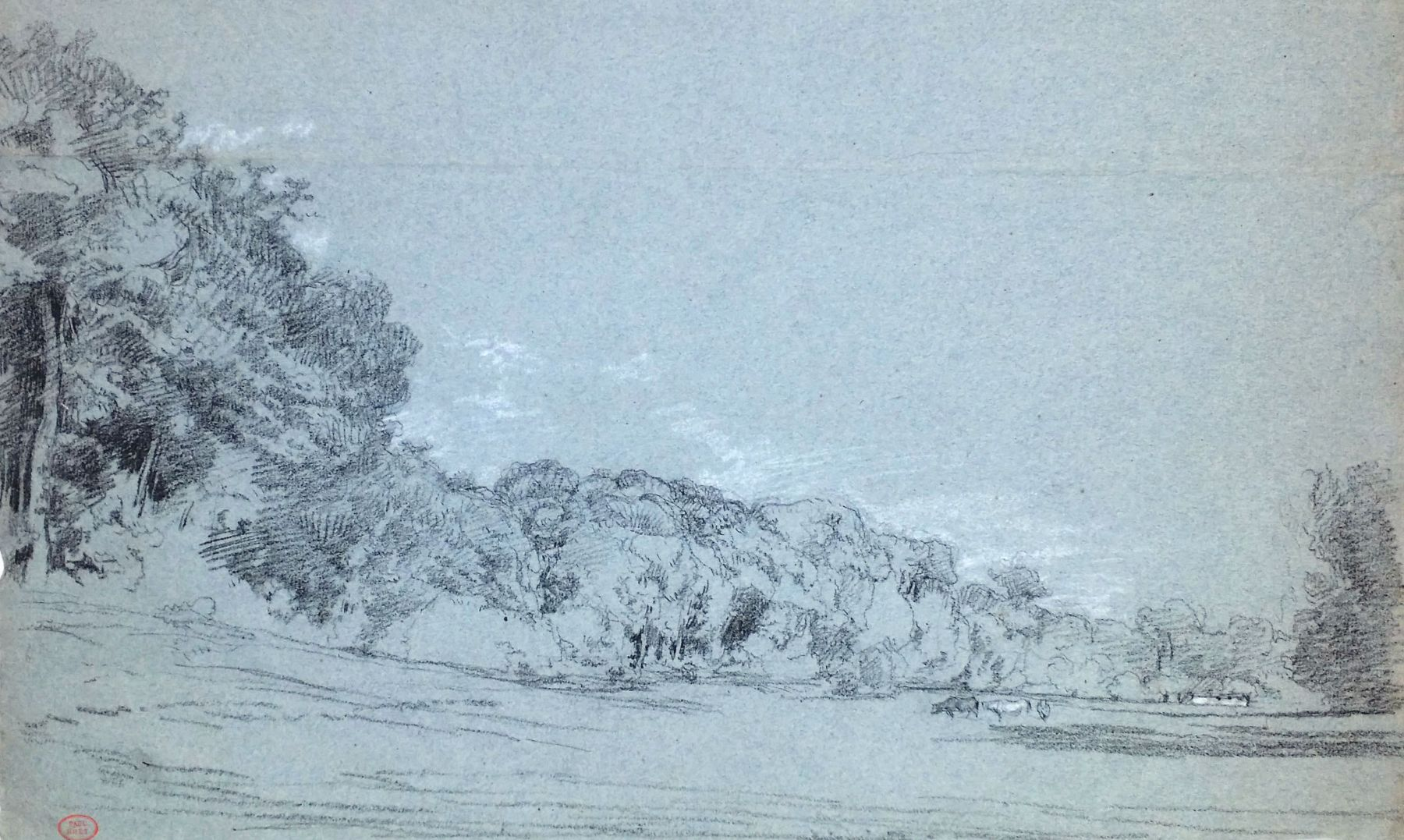 Paul Huet, Vaches en lisière de foret, Charcoal heightened with white chalk on blue paper 11 3/16 x 18 1/2 inches