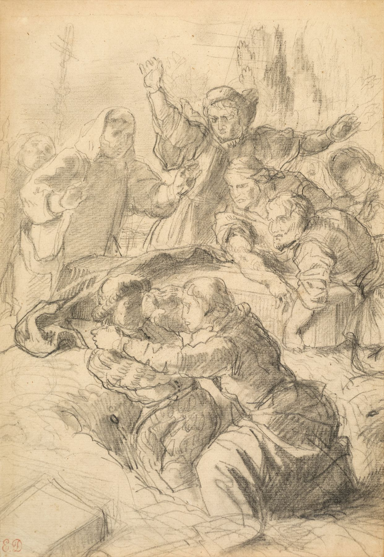 "Eugène Delacroix, Study for the Lithograph ""Hamlet and Laertes at the Grave of Ophelia"" circa 1843"