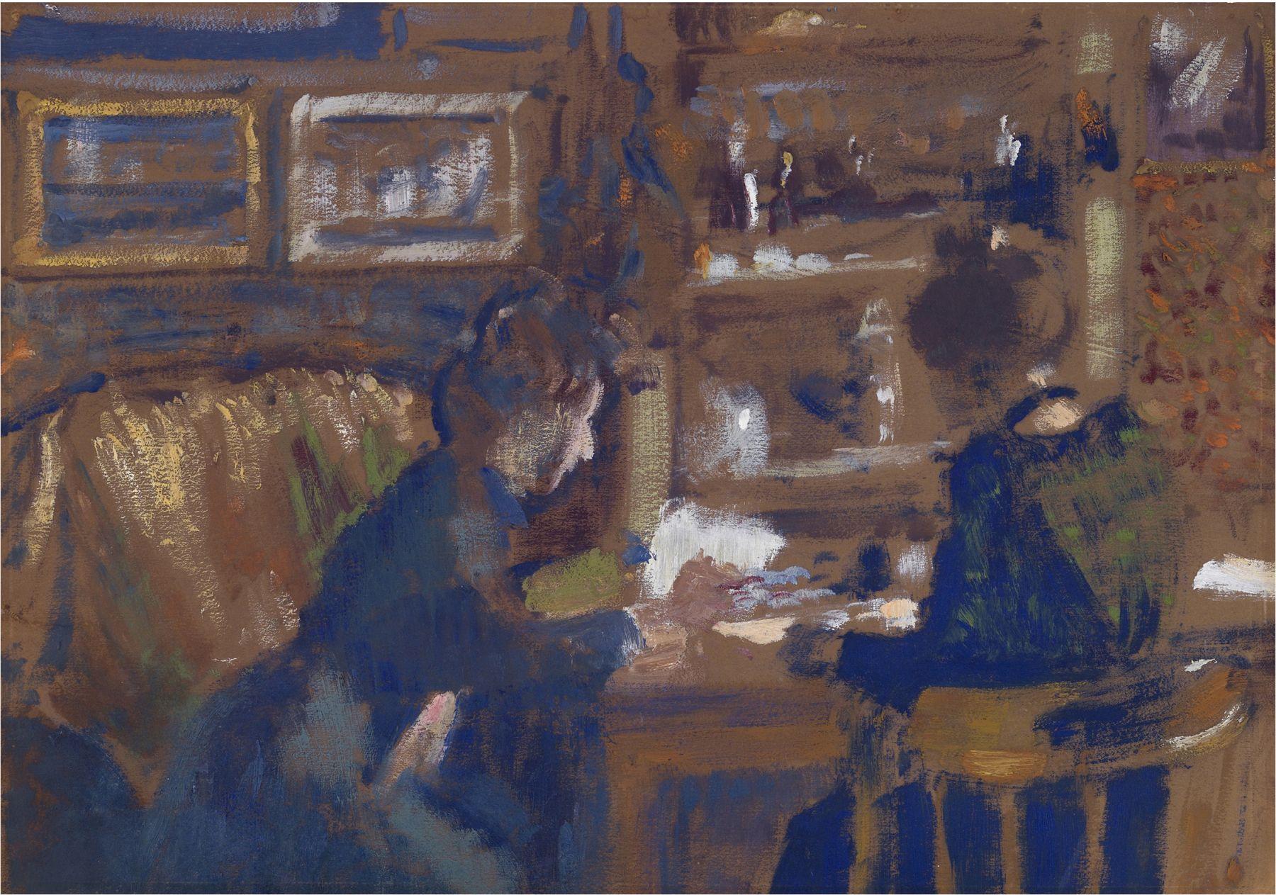 Georges Lemmen  La Causerie (Deux Femmes Dans Un Intérieur), c. 1903  Oil on paper, mounted to board 11 7/8 x 16 1/2 inches
