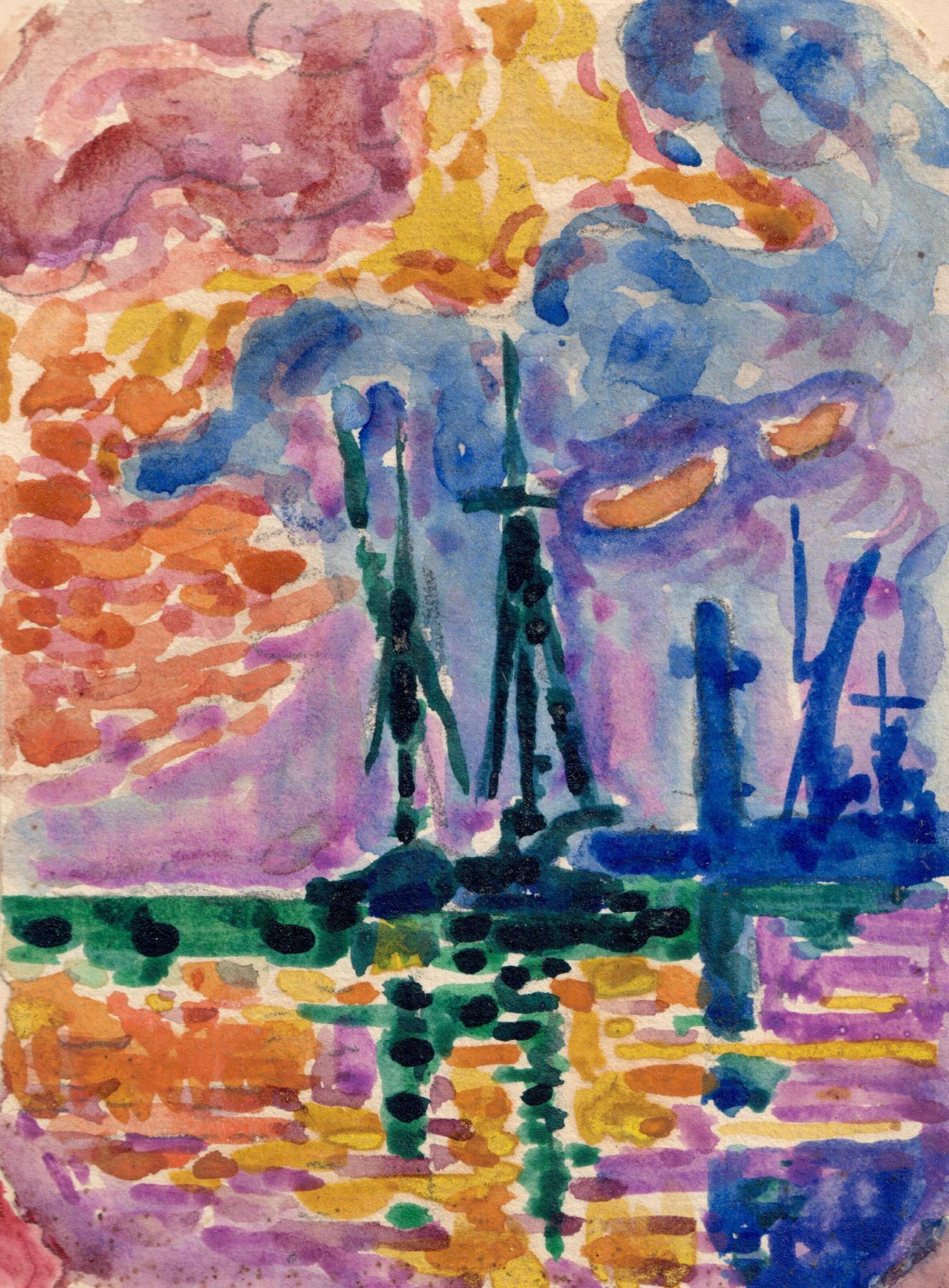 Paul Signac Saint-Tropez, la jetée, 1905 Gouache and pencil on paper 5 5/8 x 4 inches