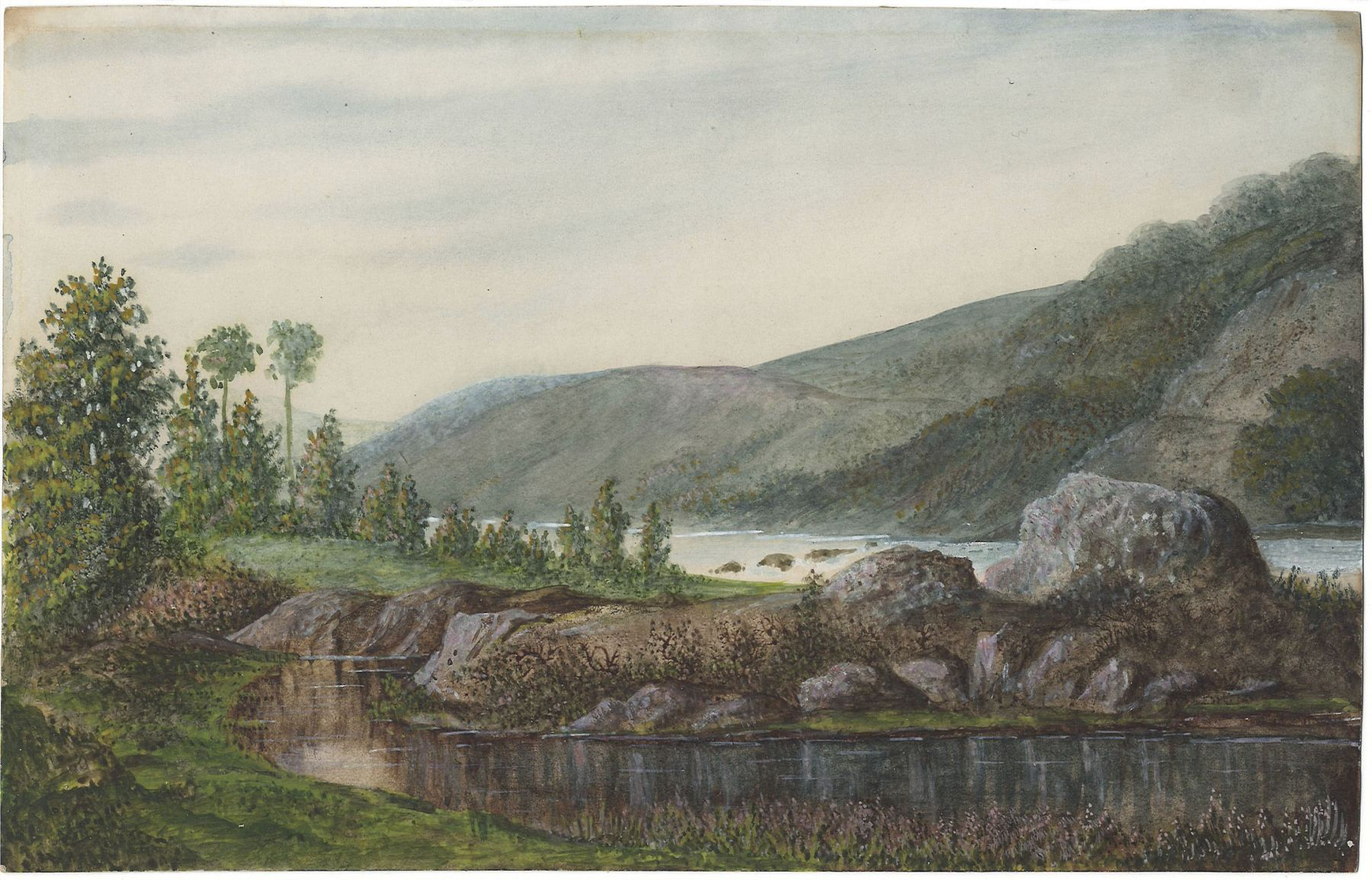 George Sand  Landscape with River and Mountains, 1875  Watercolor and gouache on paper 6 1/8 x 9 5/8 inches