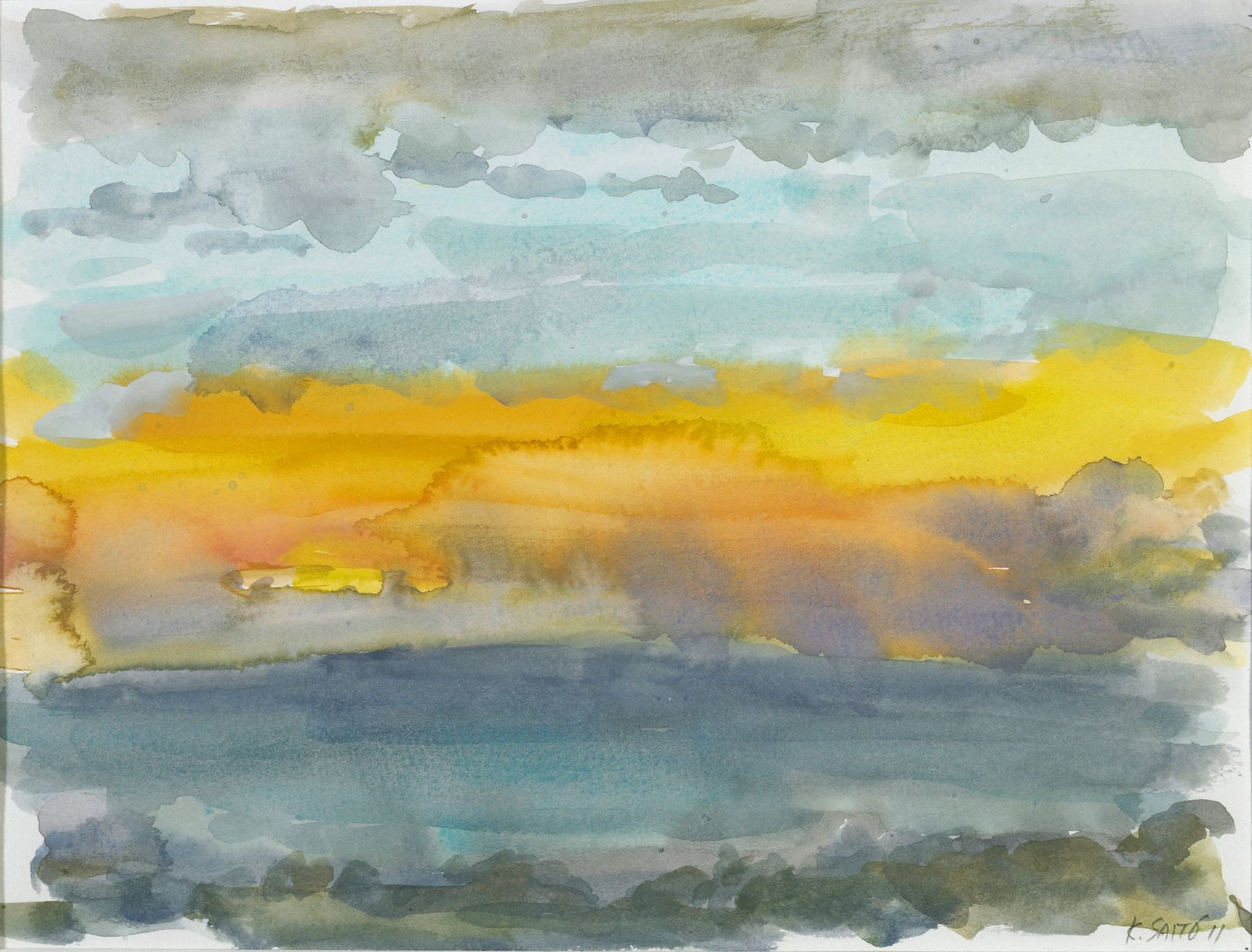 Kikuo Saito, Gotland #59, 2011    Watercolor on paper 6 x 8 3/4 inches
