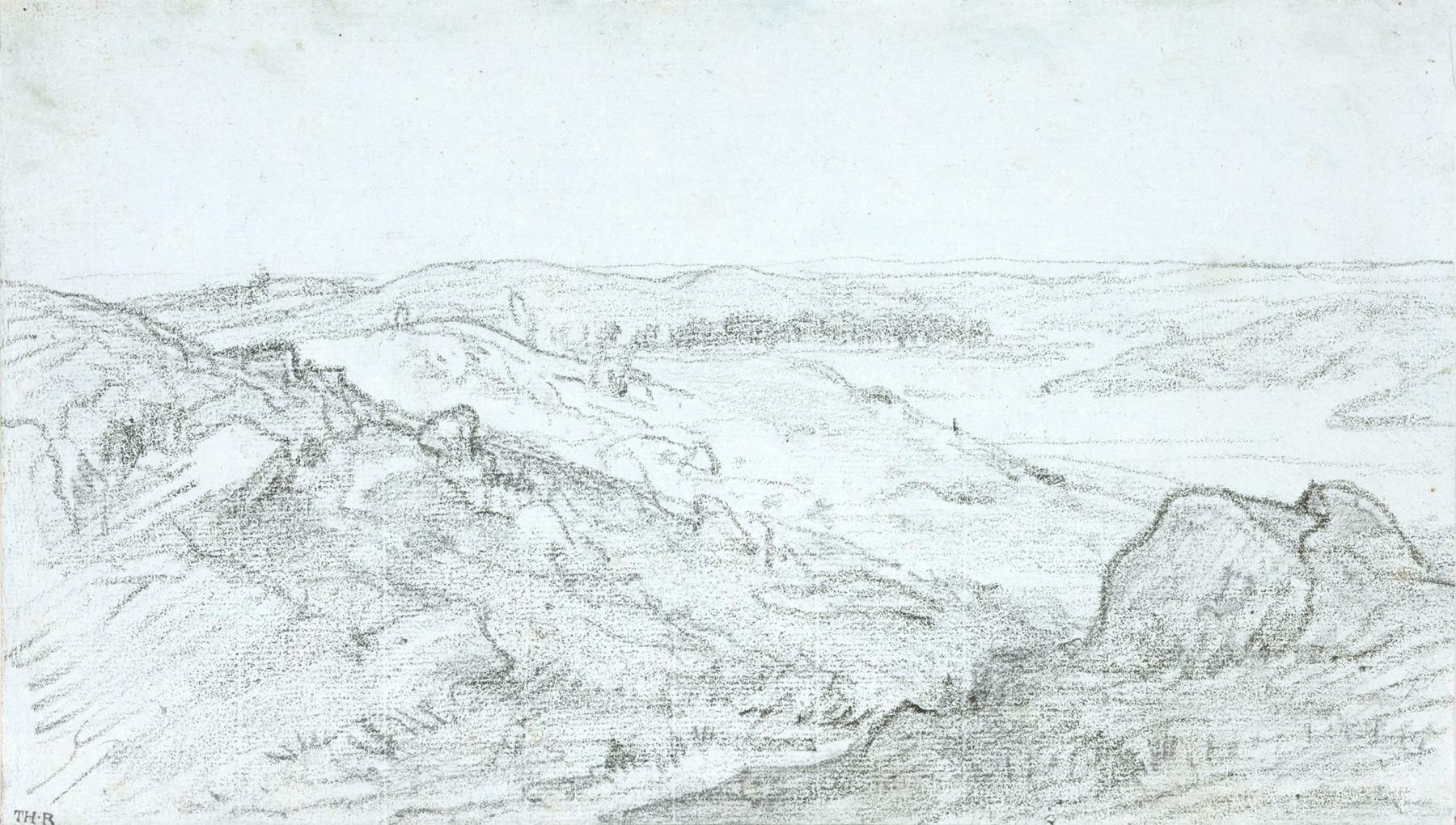 Théodore Rousseau  Les Gorges d'Apremont, c. 1850  Pencil on blue paper 6 5/8 x 11 3/8 inches