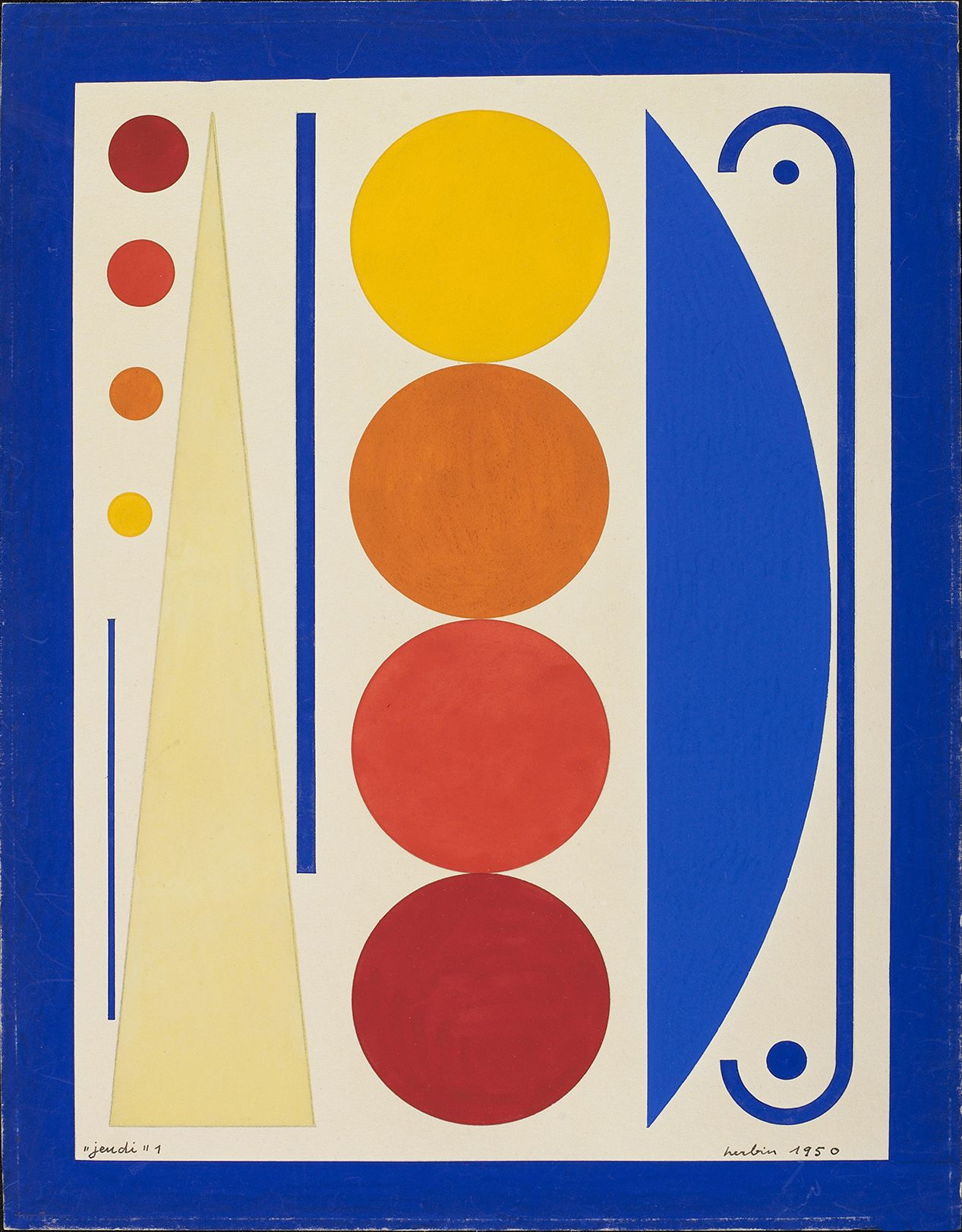 Auguste Herbin, Jeudi I, 1950    Gouache on paper 13 1/2 x 10 inches