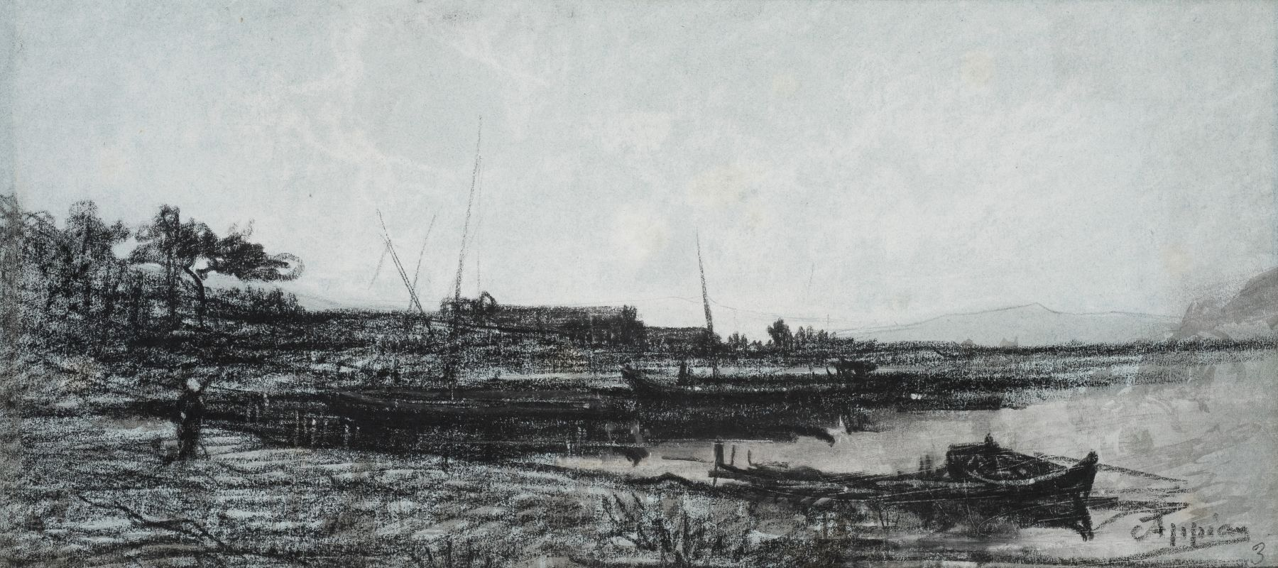 Adolphe Appian, View of an Estuary near Martigues  Black chalk on paper 6 1/4 x 14 1/8 inches