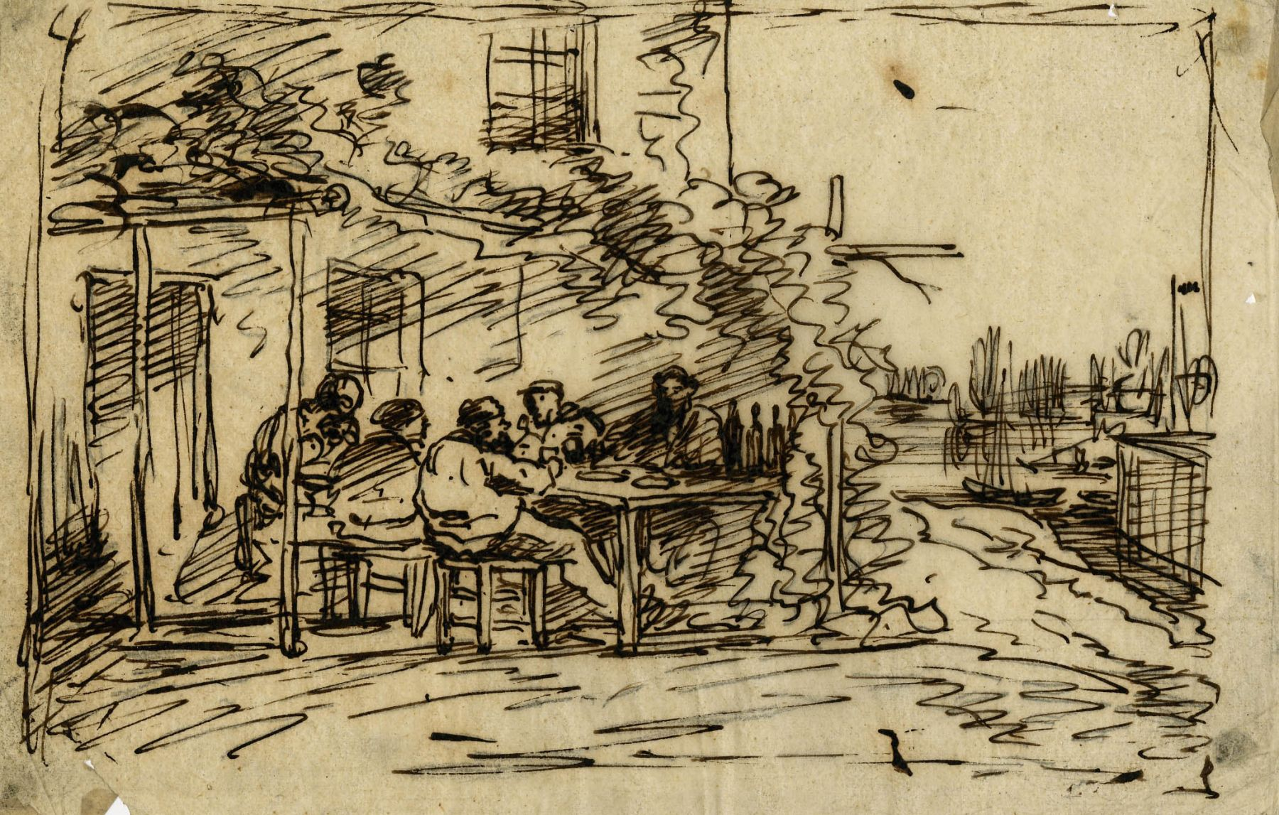 Charles F. Daubigny, The departure lunch in Asnières    Pen and ink on tracing paper  4 5/8 x 7 inches