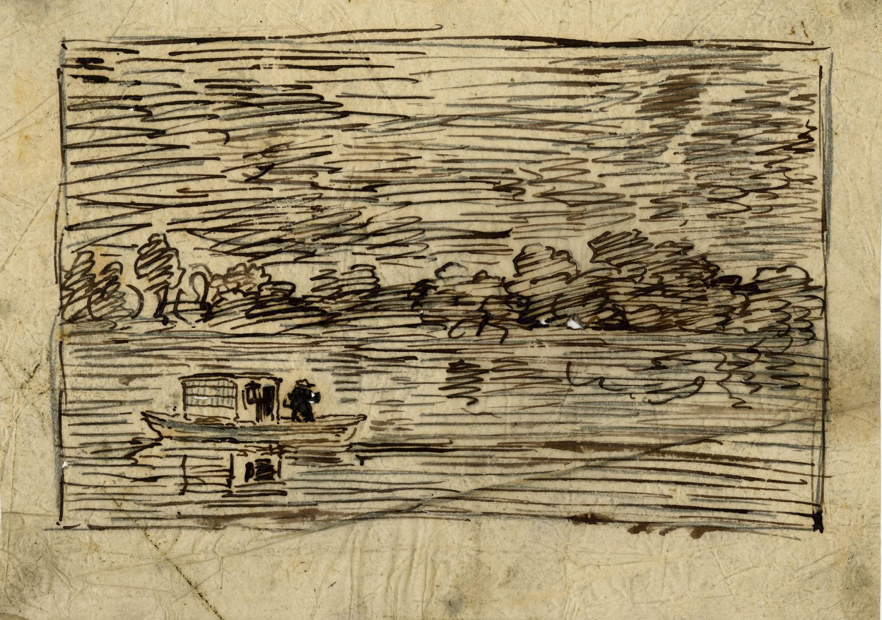 Charles F. Daubigny, Night trip or Fishing net    Pen and ink on tracing paper  5 1/4 x 7 1/4 inches