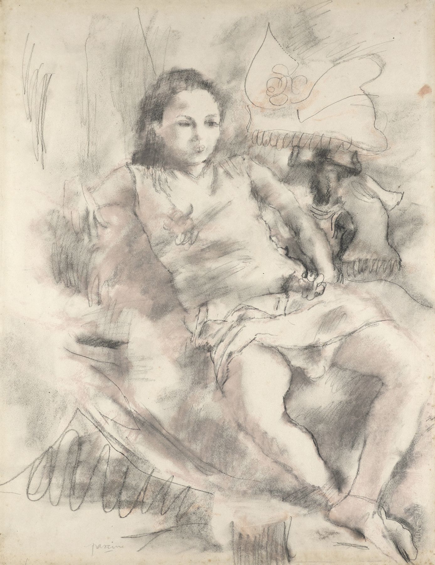 Jules Pascin  Simone, 1928  Charcoal and red chalk on paper 25 1/4 x 19 1/4 inches