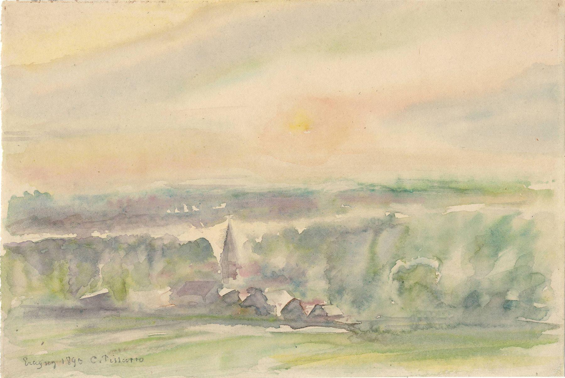 Camille Pissarro  Eragny, 1890  Watercolor on paper 6 1/2 x 9 5/8 inches