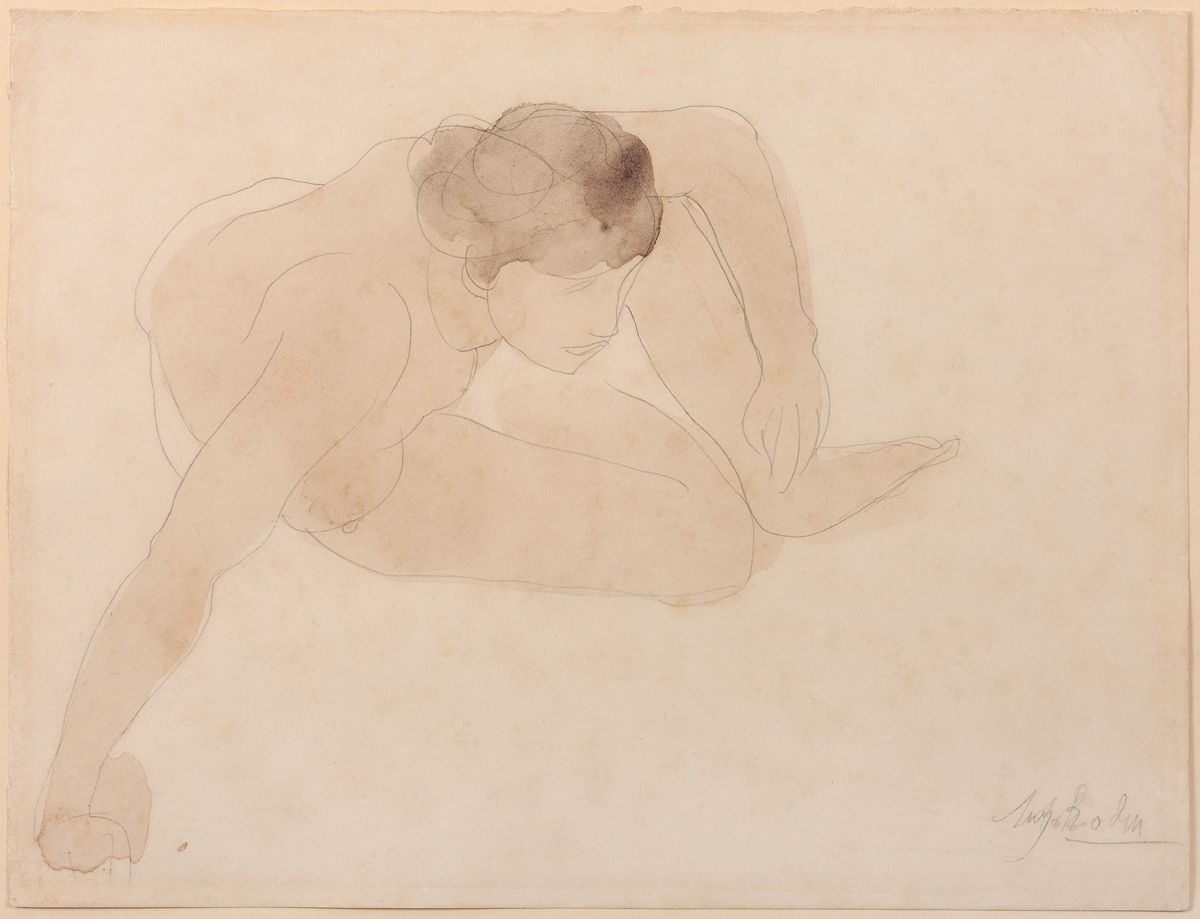 August Rodin, Small Crouching Figure (Petite figure accroupie), 1896-1899  Graphite and watercolor on wove paper mounted to original board  9 7/8 x 12 3/4 in