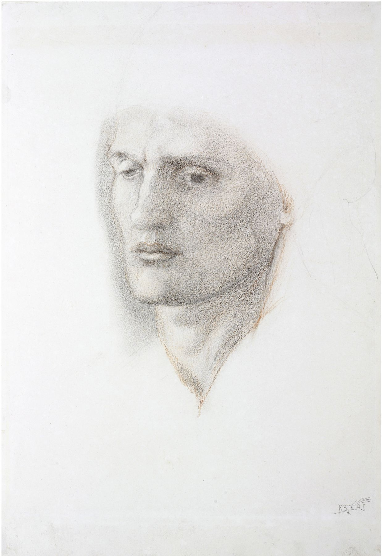 Edward Coley Burne-Jones  Portrait Head of a Man  Red and black chalk on paper 15 1/4 x 11 3/4 inches