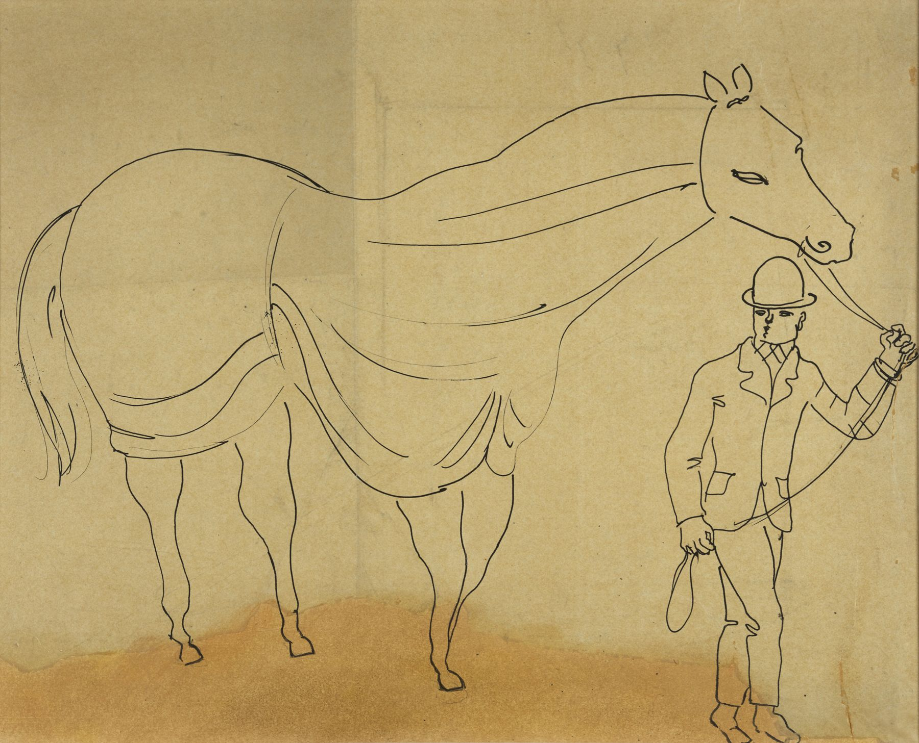 Raoul Dufy  Cheval et Son Jockey, c. 1926    Indian ink on paper 17 3/4 x 21 1/4 inches