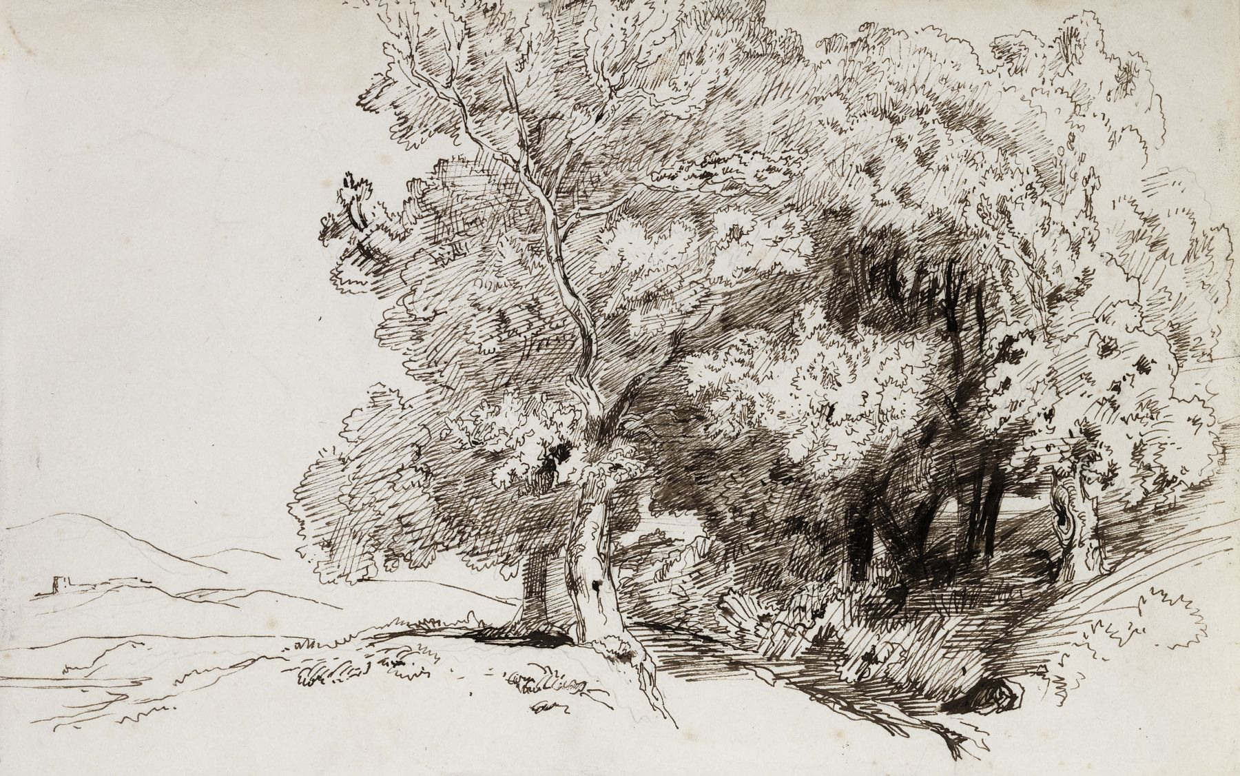 Paul Huet  A Copse of Trees with a Town in the Distance  Pen and ink on paper 8 5/8 x 13 9/16 inches