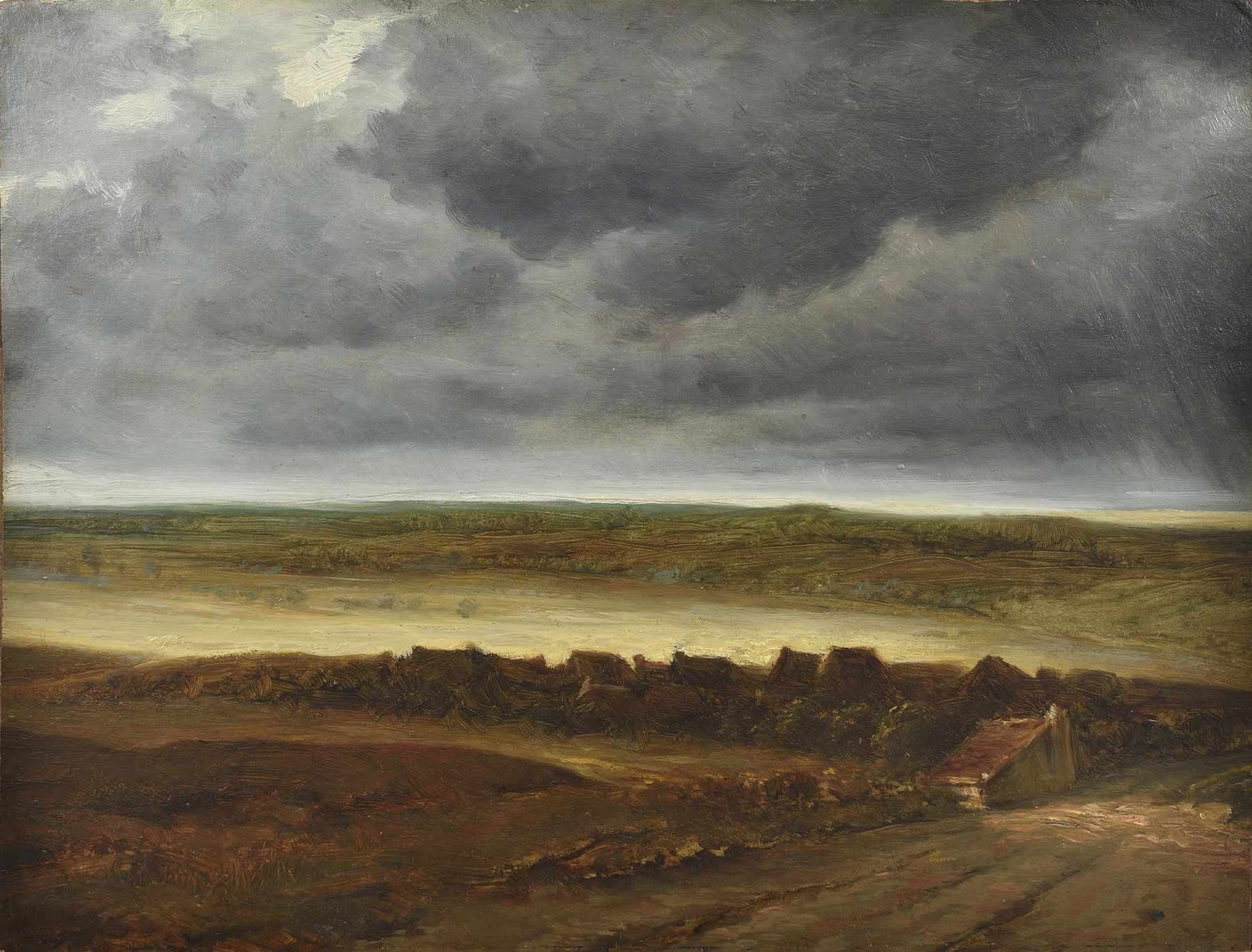 Georges Michel, Landscape with Houses, Oil on board 13 1/4 x 17 inches