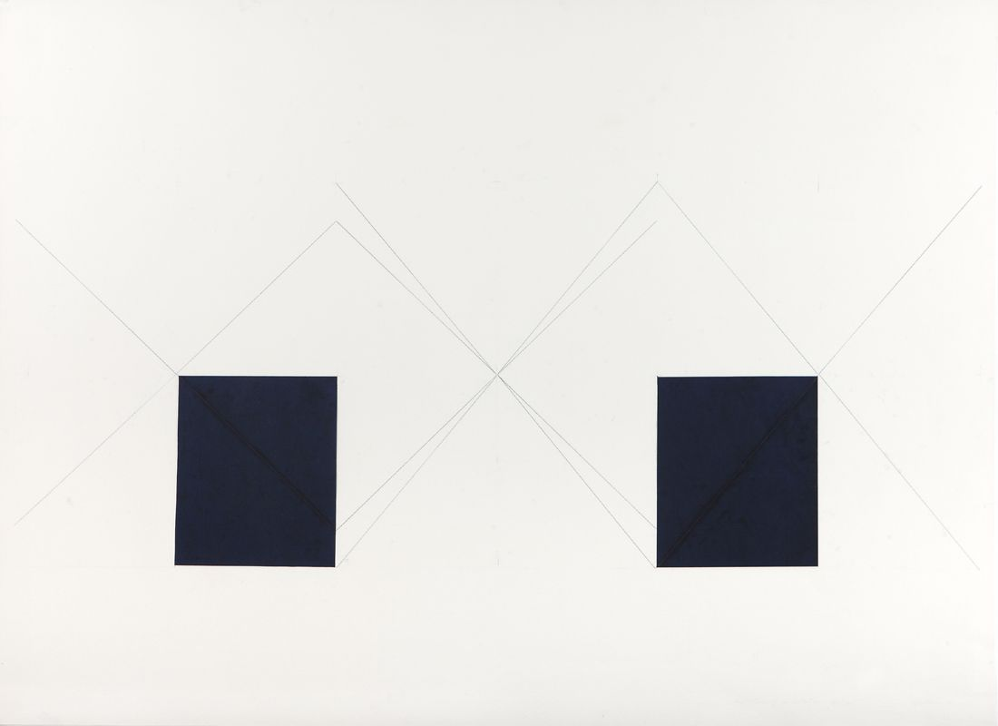 Dorothea Rockburne, Indication of Installation, Hartford Piece, 1973  38 x 50 inches  Carbon paper and carbon lines on paper