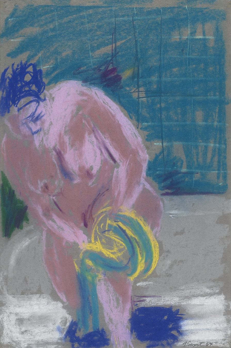 George Segal, Untitled Series IV #2 (Nude on Tub), 1964, Pastel on paper 18 x 12 inches