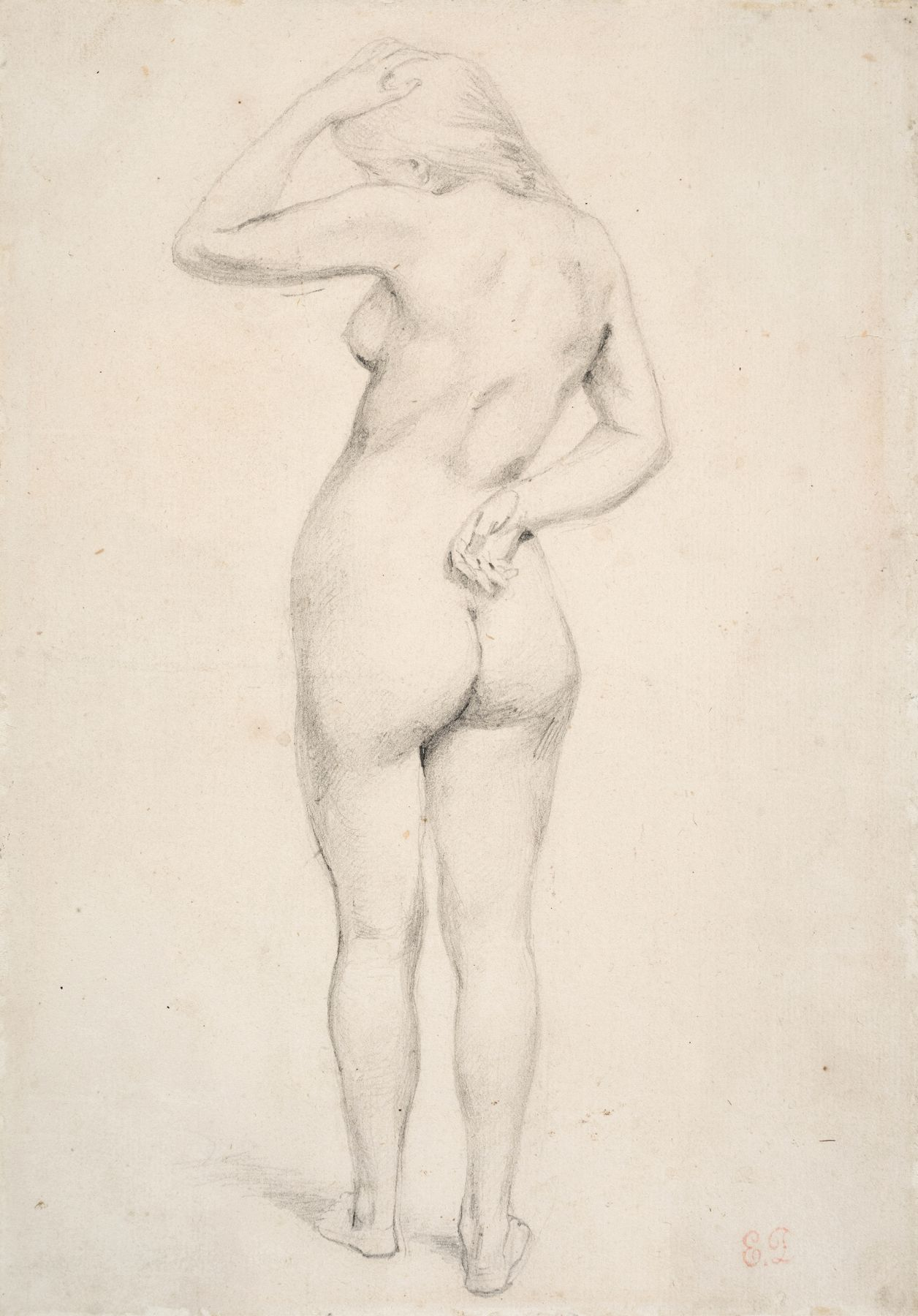 Eugene delacroix Standing Female Nude Seen from Behind    Pencil on paper 9 1/4 x 6 3/8 inches