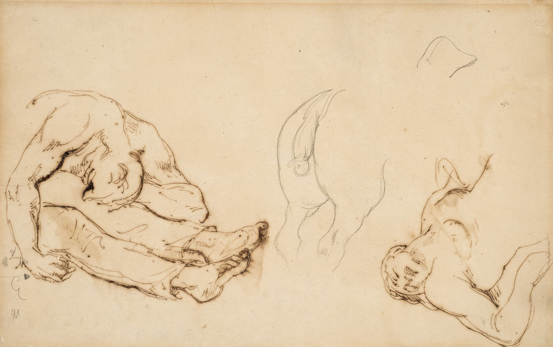 Theodore Gericault, Two Figures for Raft of Medusa and a Horse, Pen and ink with pencil on paper 8 1/8 x 13 inches