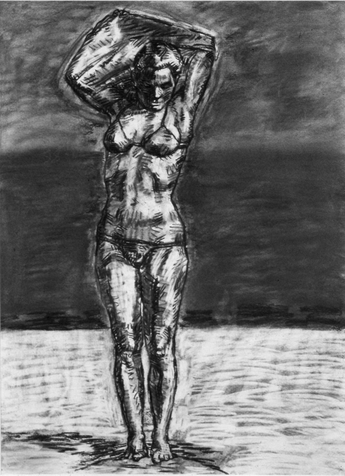 Graham Nickson  Study for Chevron: Orange Sail, 1984  Charcoal on paper  30 x 22 inches (76.2 x 55.9 cm)