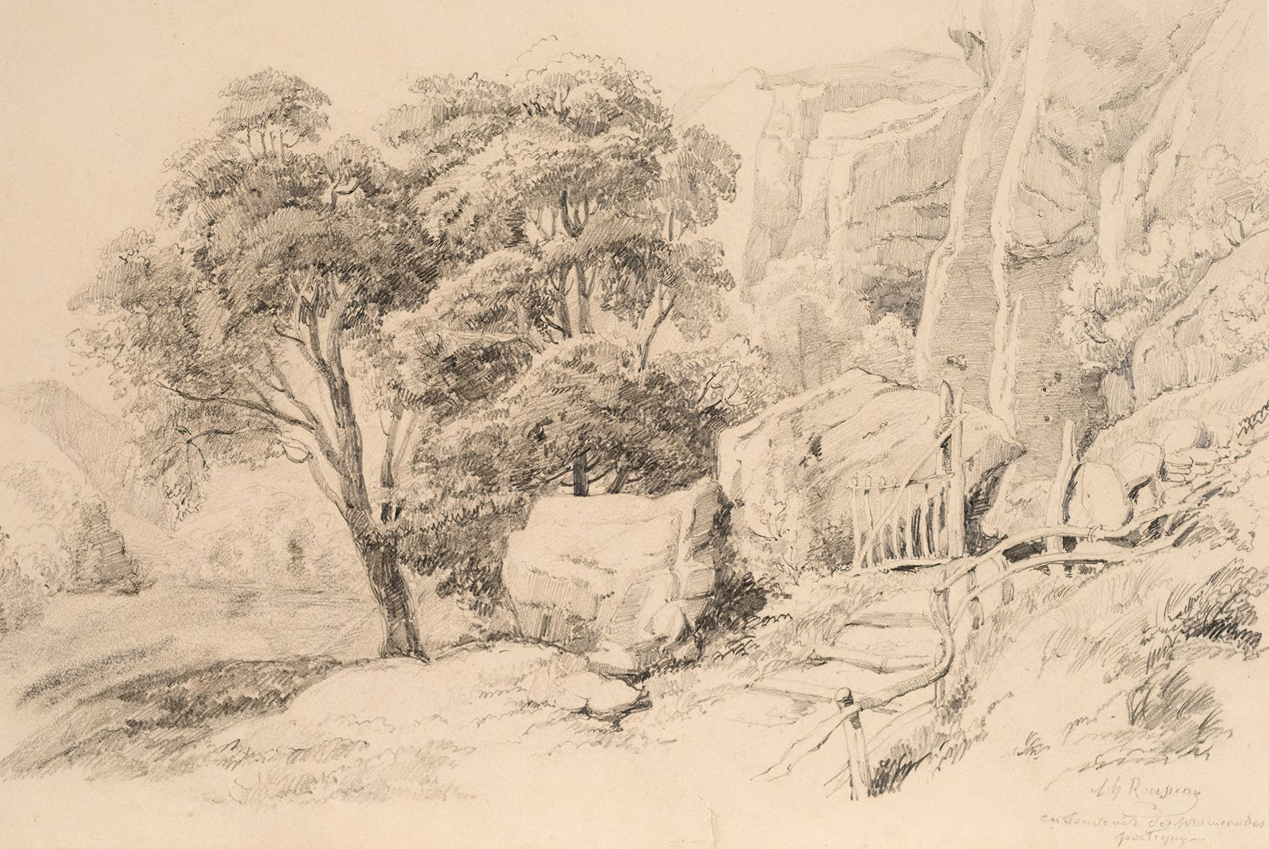 Theodore Rousseau, Rocky Landscape with Tree and Gate  Pencil on paper 9 x 13 1/8 in.