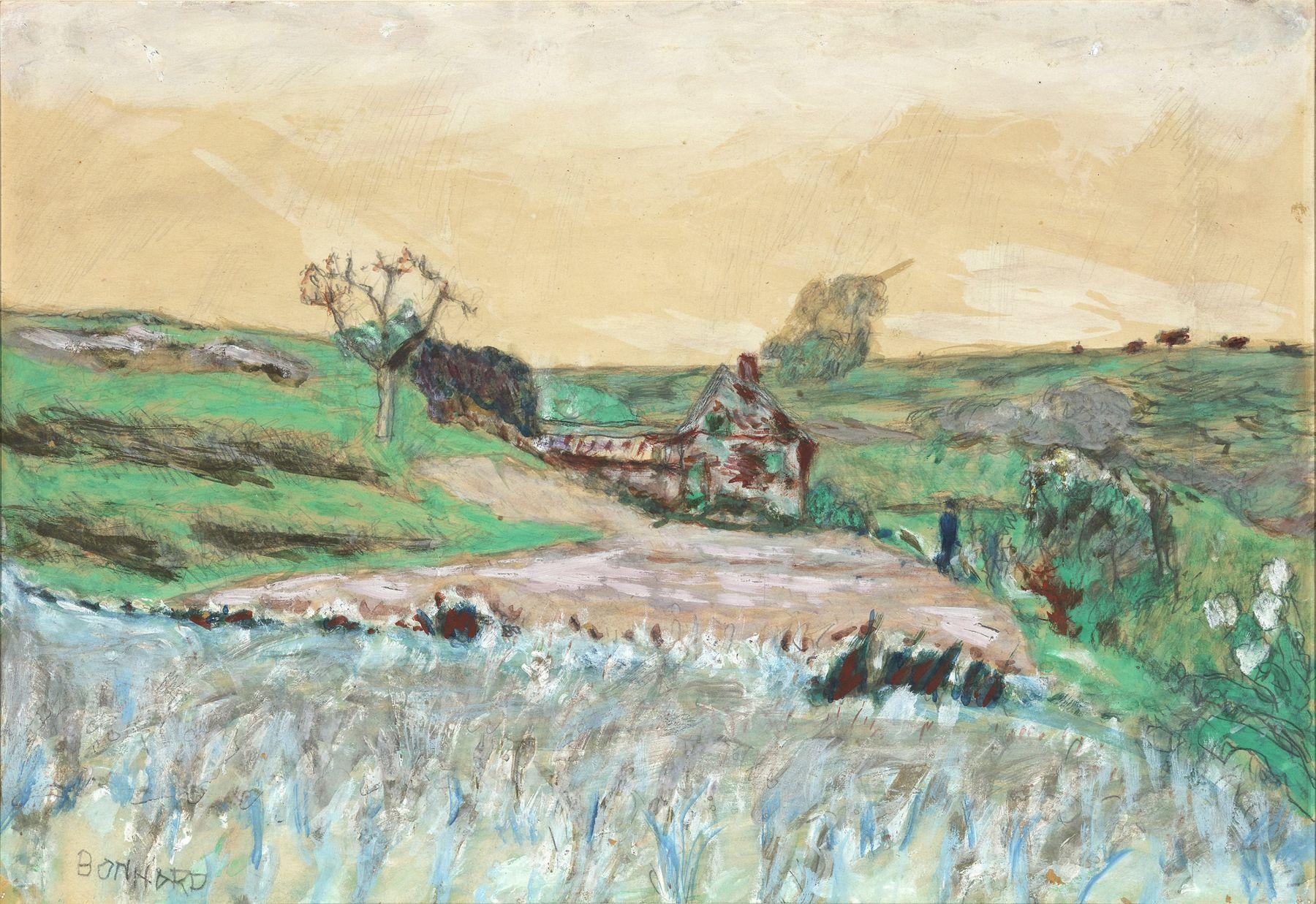 Pierre Bonnard   Maison dans la Vallee, c. 1922  Watercolor, oil, gouache and pencil 11 x 15 3/8 inches