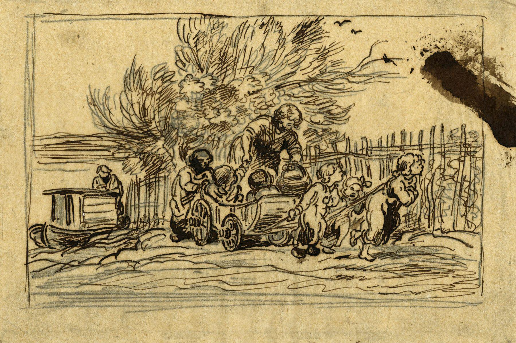 Charles F. Daubigny, L'Héritage de la voiture (les enfants à la voiture)    Pen and ink on papier calque 4 3/4 x 7 3/8 inches