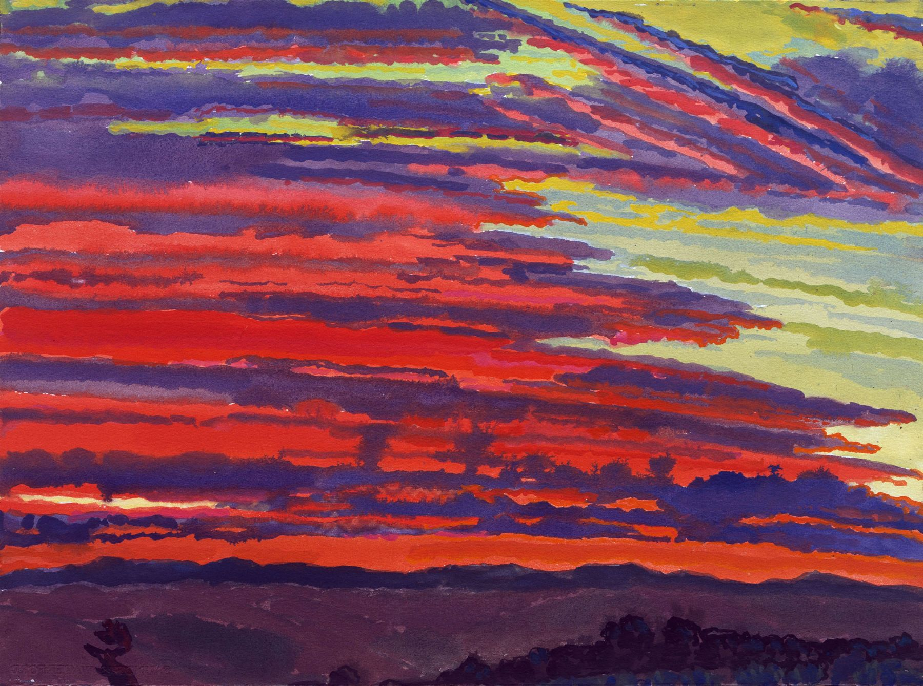 Graham Nickson,   Sarageto Dawn: Red Sky, Last Day, 2007    Watercolor on paper 22 x 30 inches