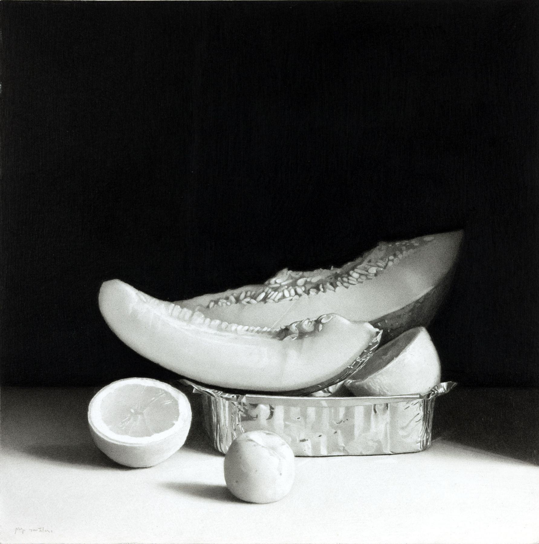 Josep Santilari Perarnau    Melon, Apricot and Lemon, 2011    Graphite Pencil 11¾ × 11¾ inches