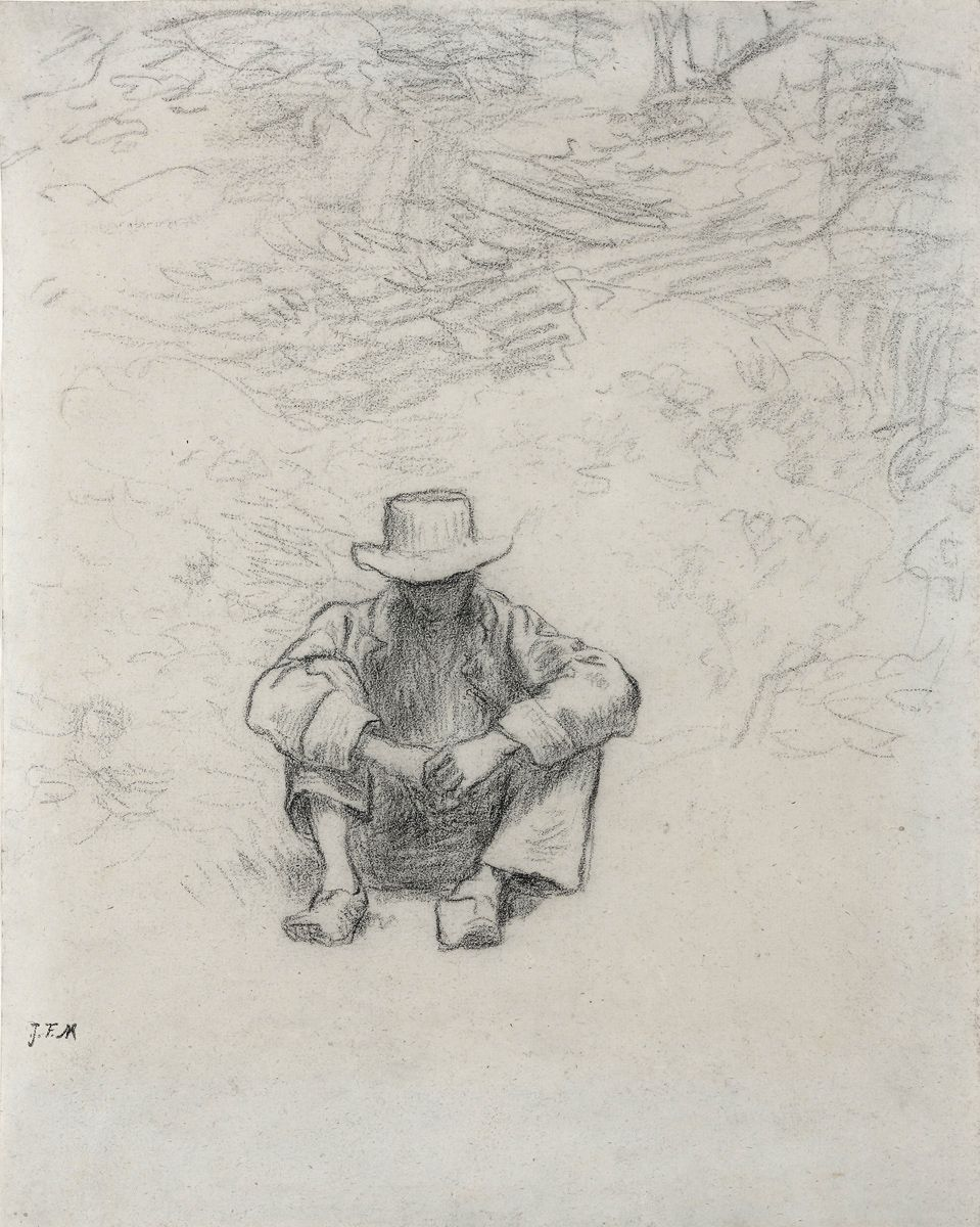Jean François Millet  Seated Peasant, c. 1850  Black chalk on paper 11 1/4 x 8 7/8 inches