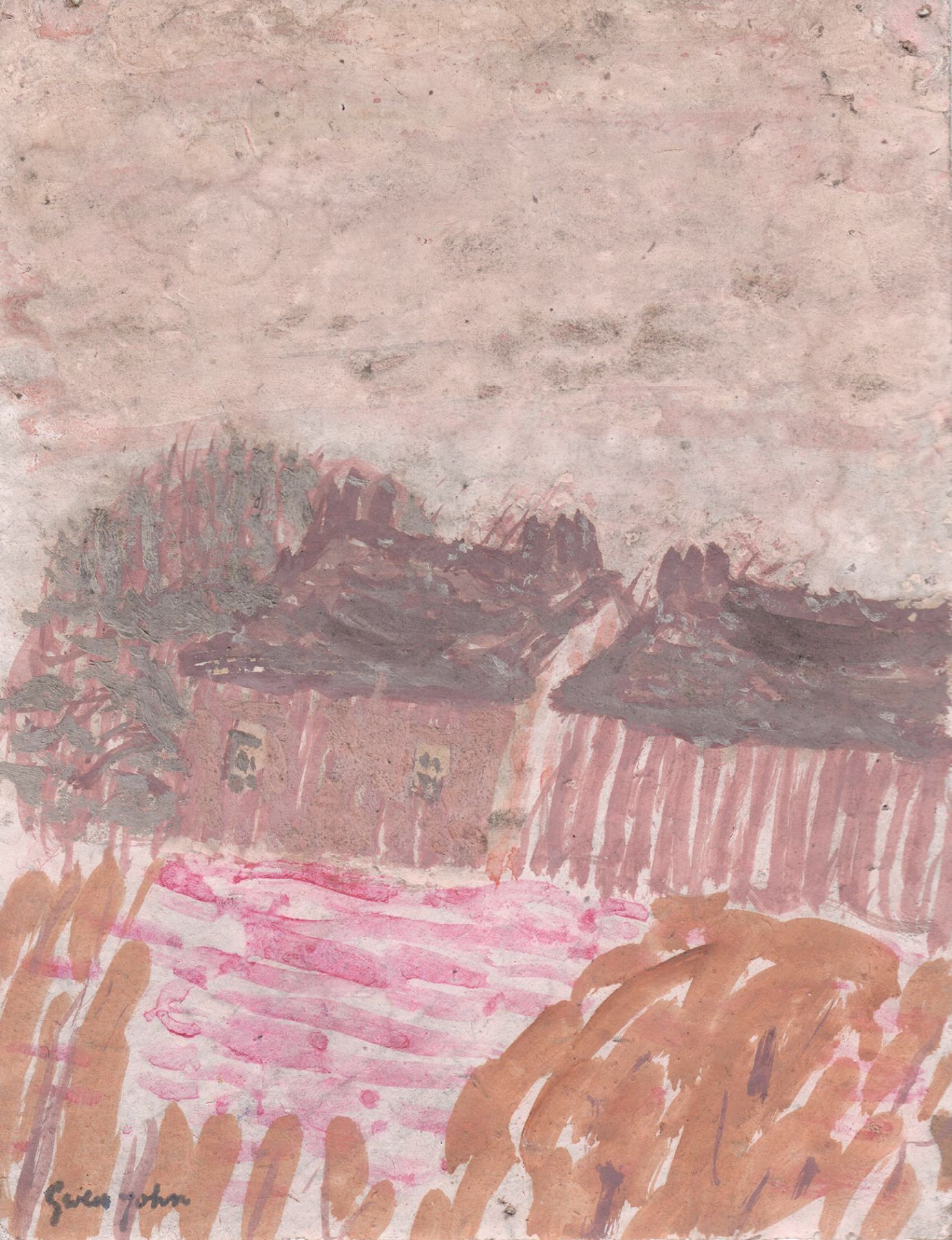 Gwen John, Two Houses in a Landscape, late 1920s, Gouache and pencil on brown paper 6 3/8 x 4 7/8 inches