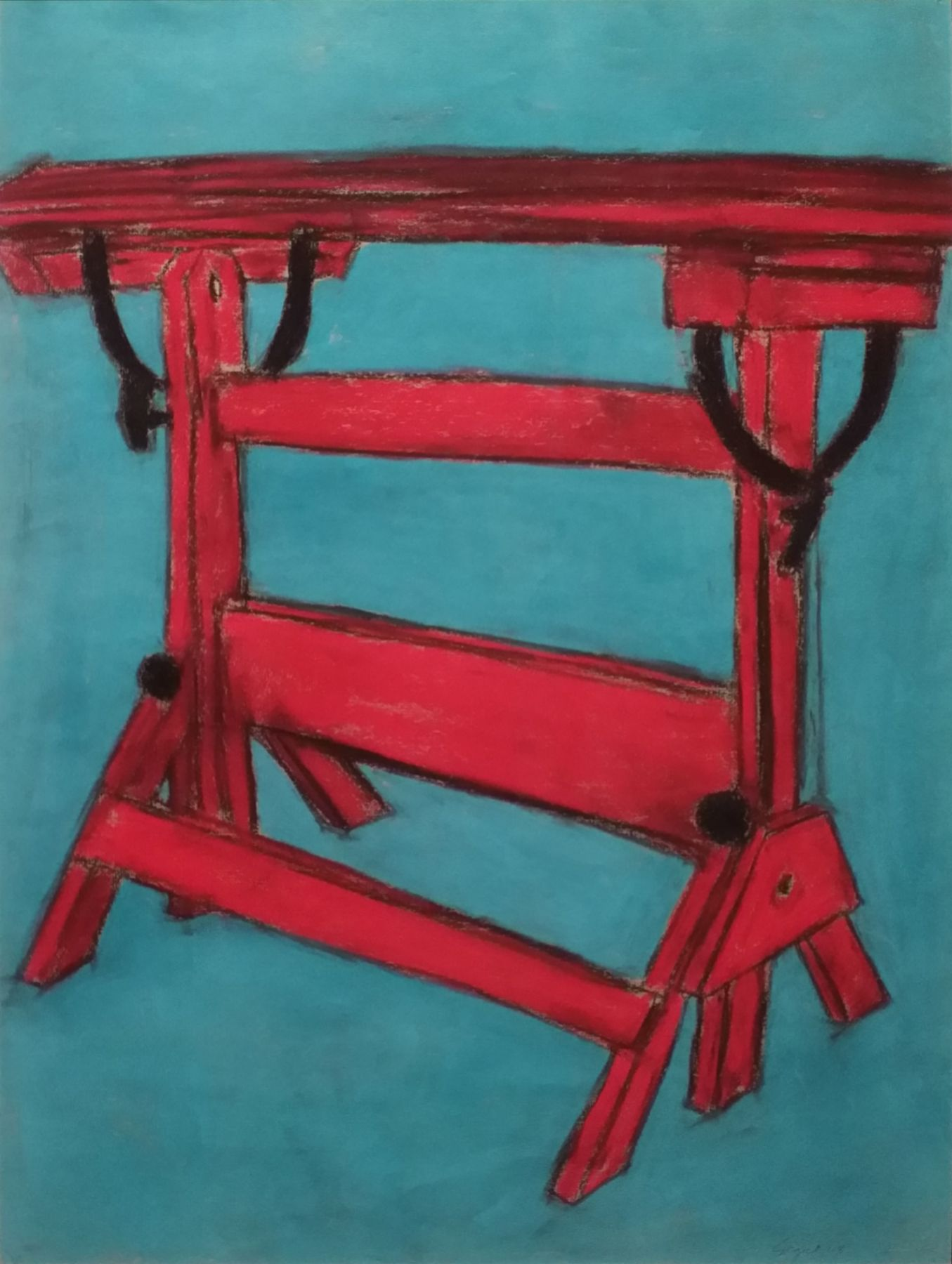 George Segal, Untitled (Drawing Table), 1968, Pastel on paper 19 x 25 inches