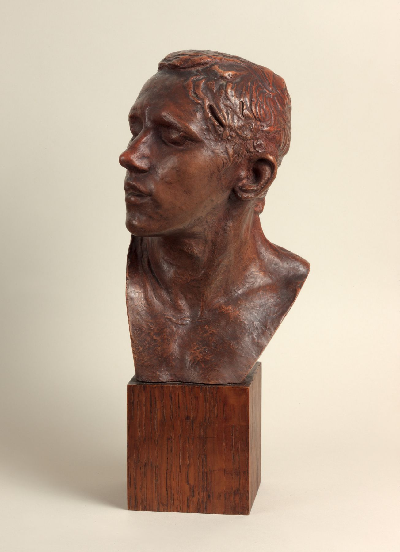 Auguste Rodin, Bust of the Age of Bronze (Buste de l'age d'Airain, moyen modèle), 1917  Patinated terracotta  H: 8 1/2 in  Signed on back of the neck