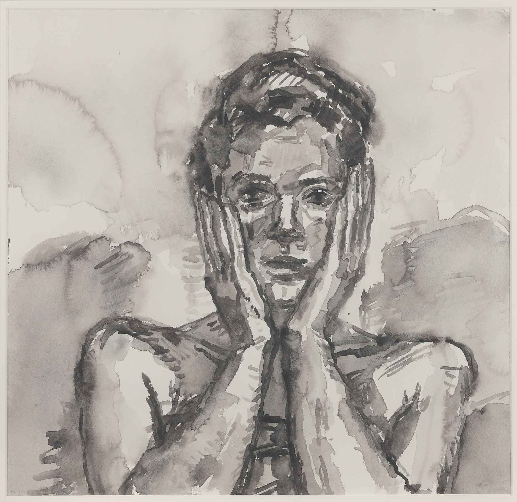 Graham Nickson  Head in Hands, 2001  Ink on paper 15 x 15 3/4 inches (38.1 x 40 cm)