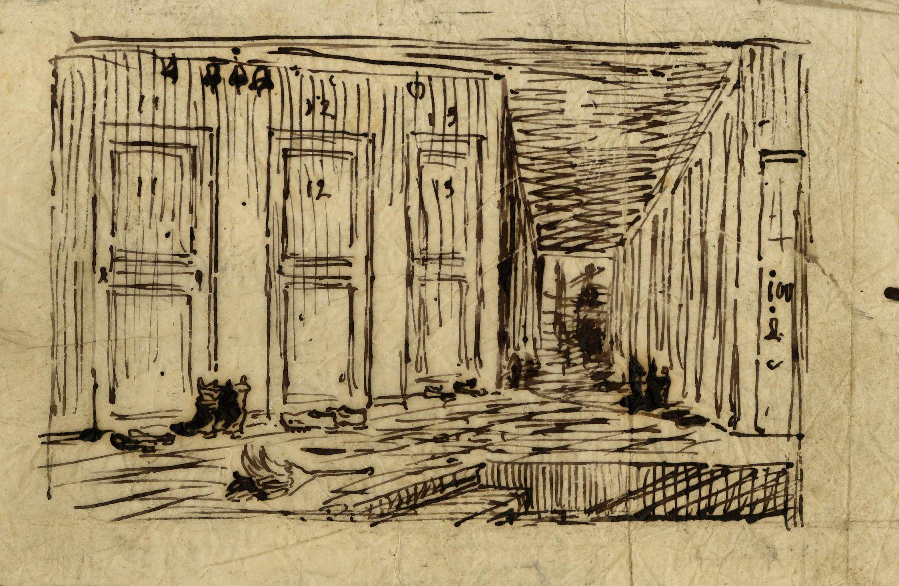 Charles F. Daubigny, Intérieur d'une auberge (Le corridor d'une auberge)    Pen and ink on papier calque 5 1/8 x 7 3/4 inches