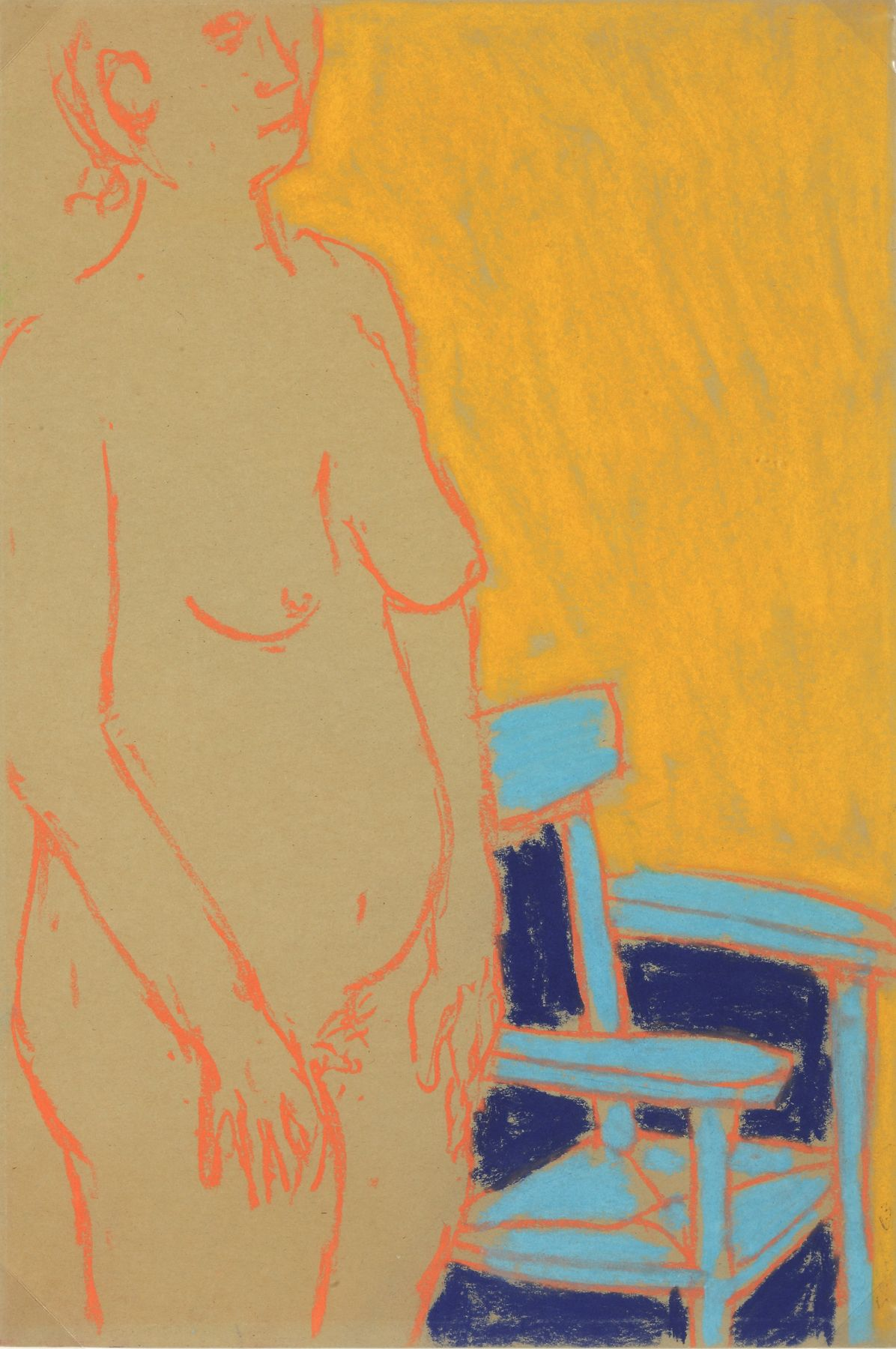George Segal, Untitled (Nude with Blue Chair), 1965, Pastel on paper 18 x 12 inches