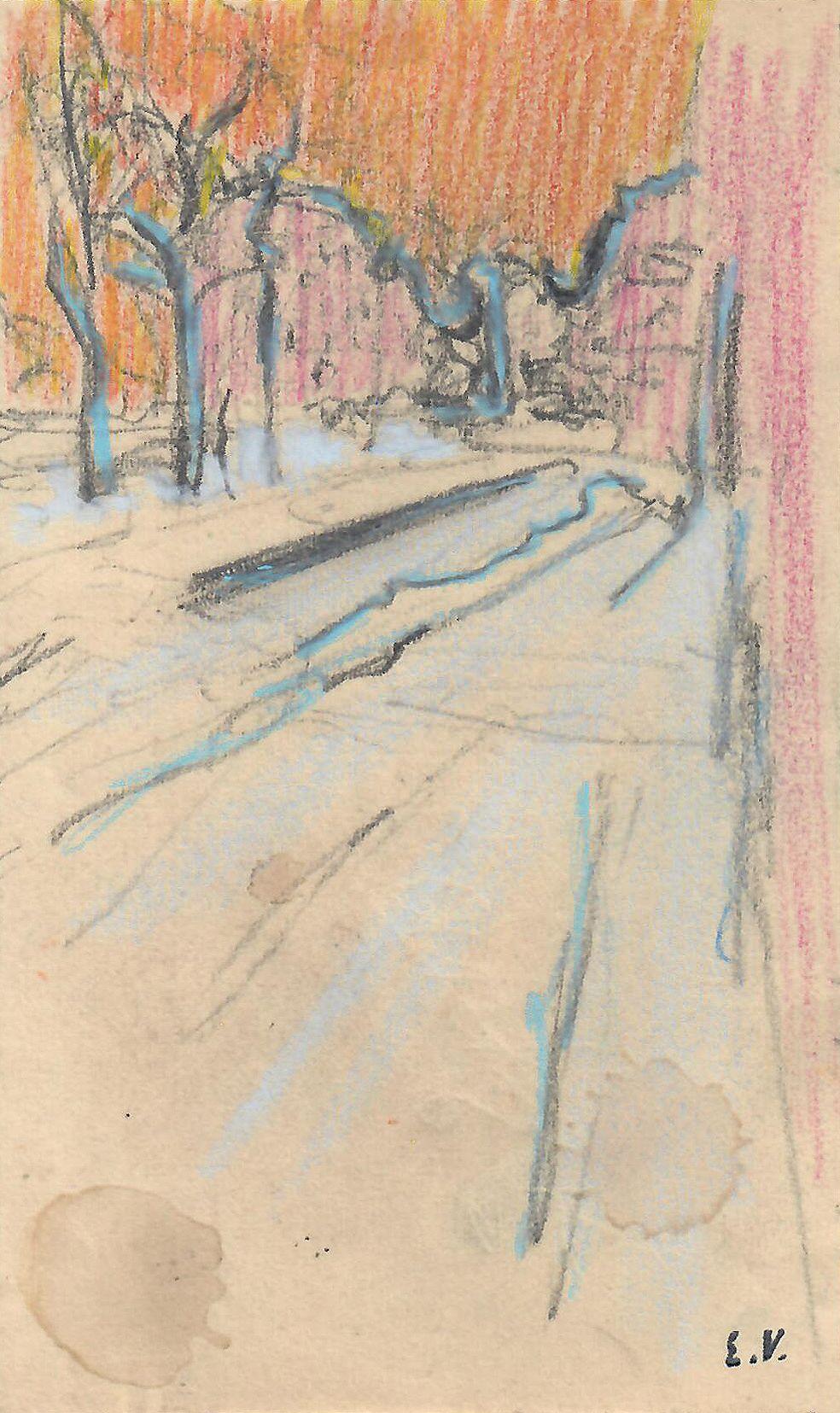Edouard Vuillard, Vue de rue, 1892-95, Crayon on paper 5 3/8 x 3 1/4 inches