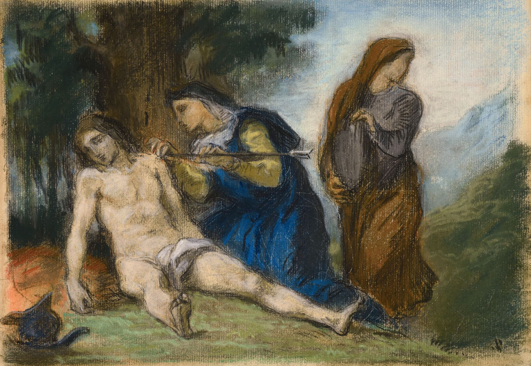 Eugène Delacroix, St. Sebastian Tended by the Holy Women, pastel on paper