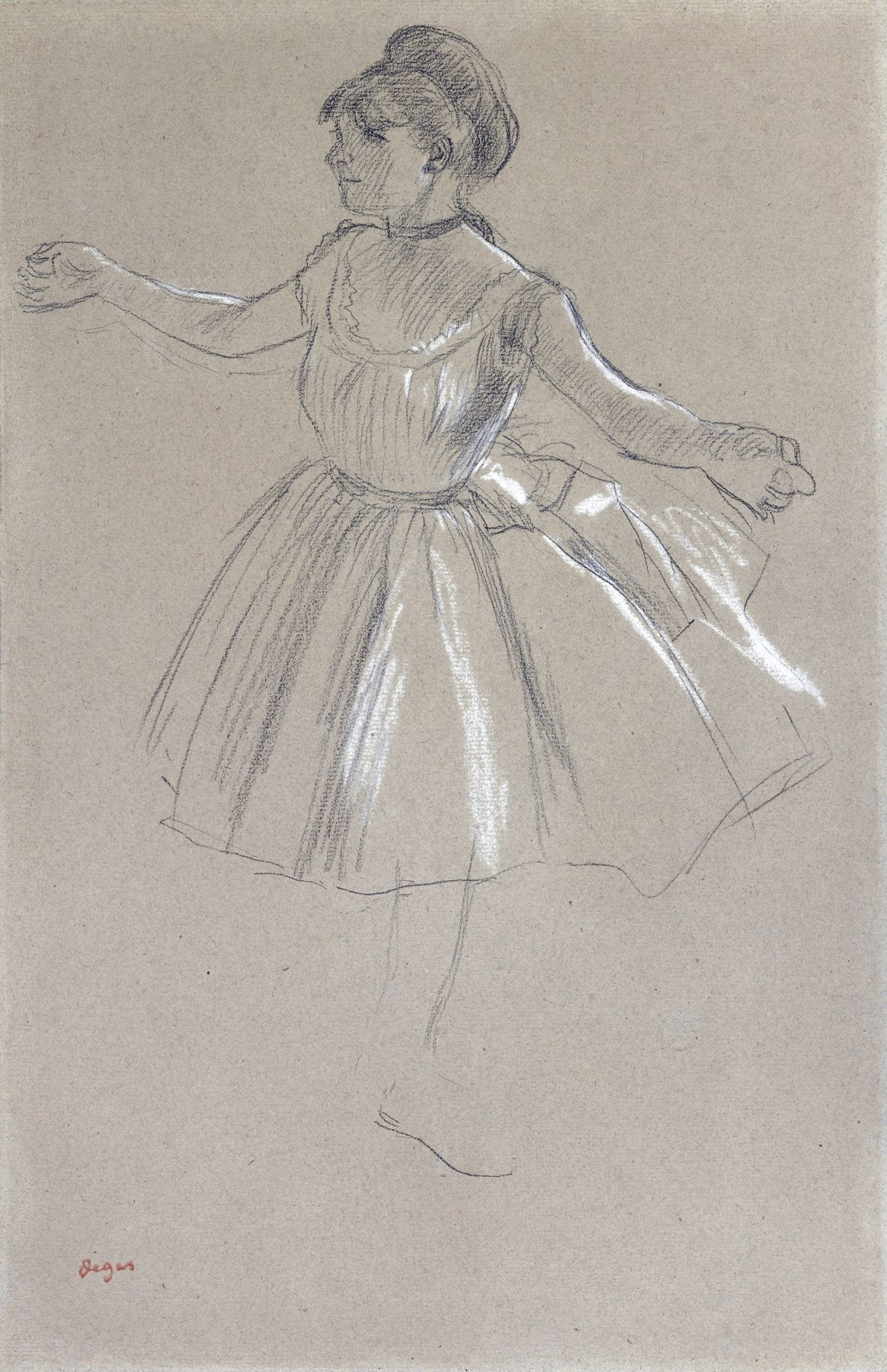 Edgar Degas  Dancer - Melina Darde, c. 1878-1880  Black chalk heightened with white on paper 18 3/8 x 12 inches