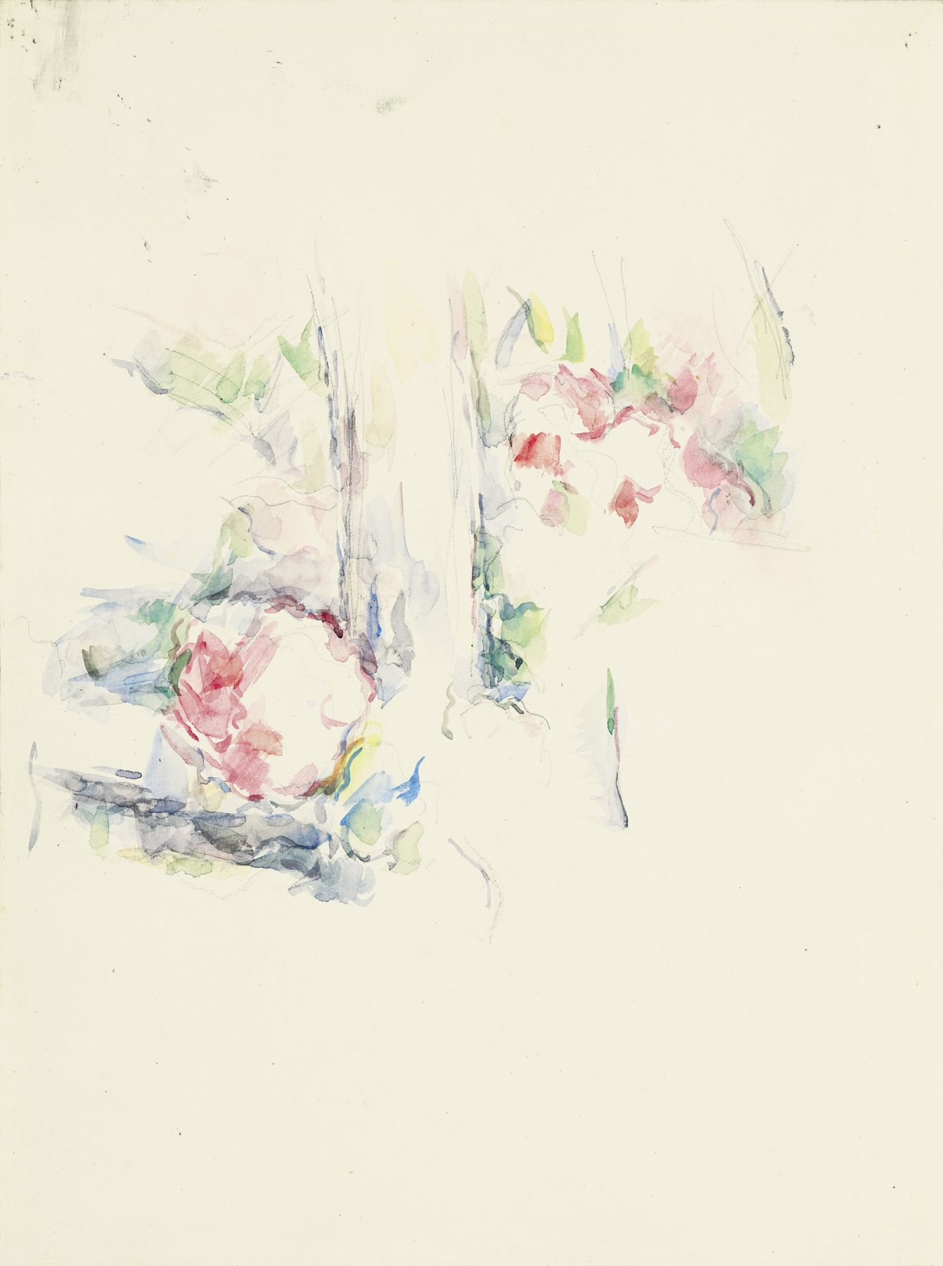 Paul Cezanne, Tronc d'arbre et fleurs, c. 1900, Watercolor and pencil on paper 16 5/8 x 12 1/2 inches