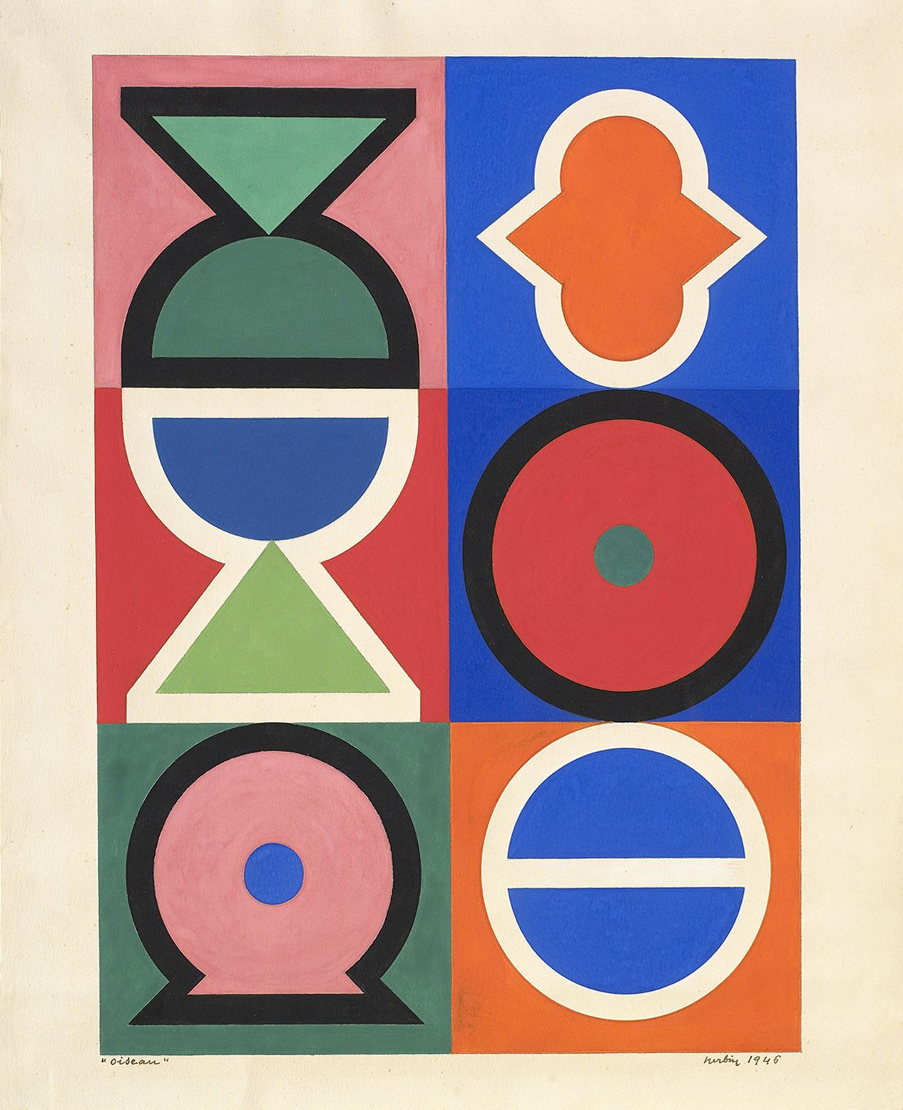 Auguste Herbin, Oiseau, 1946, Gouache on paper 12 3/4 x 9 1/4 inches