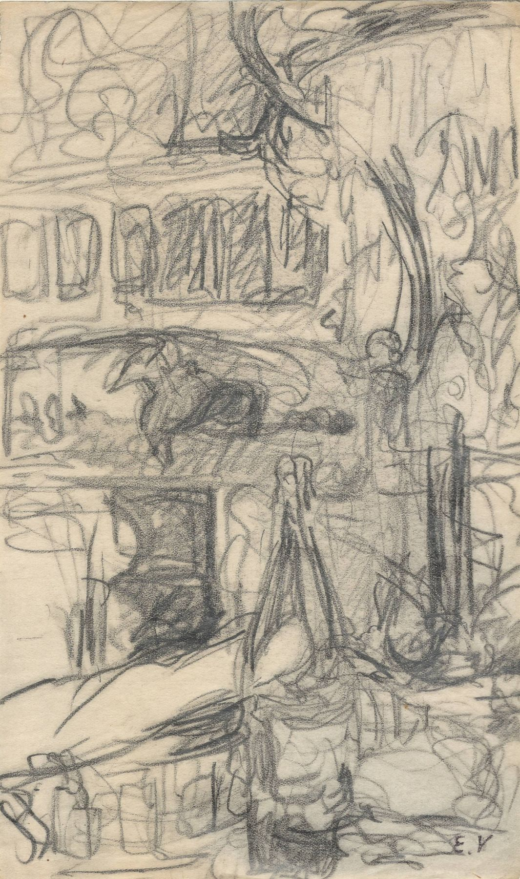 Edouard Vuillard, Wine Bottle in a Cabaret, Pencil on paper 8 1/2 x 5 3/16 inches