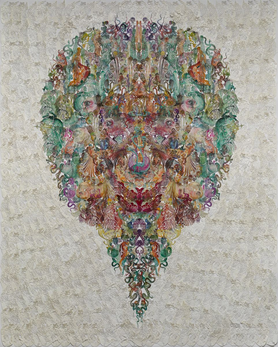 "Faces-Orioleé»""雀 2014 Hand dyed and waxed paper-cut, cotton thread, paperæ‰‹å·¥ç€è‰²å'Œæµ¸èœ¡é•'空剪纸, 棉线, 纸"
